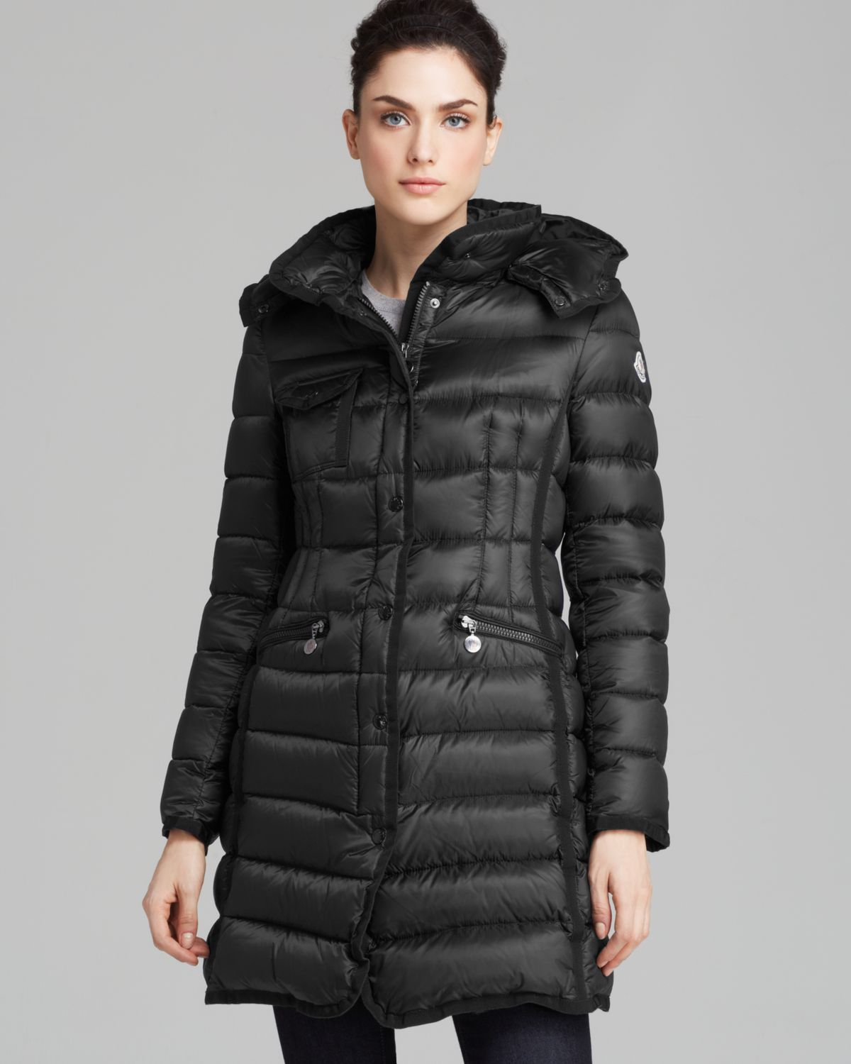 Moncler Down Coat - Hermine Mid-length in Black | Lyst