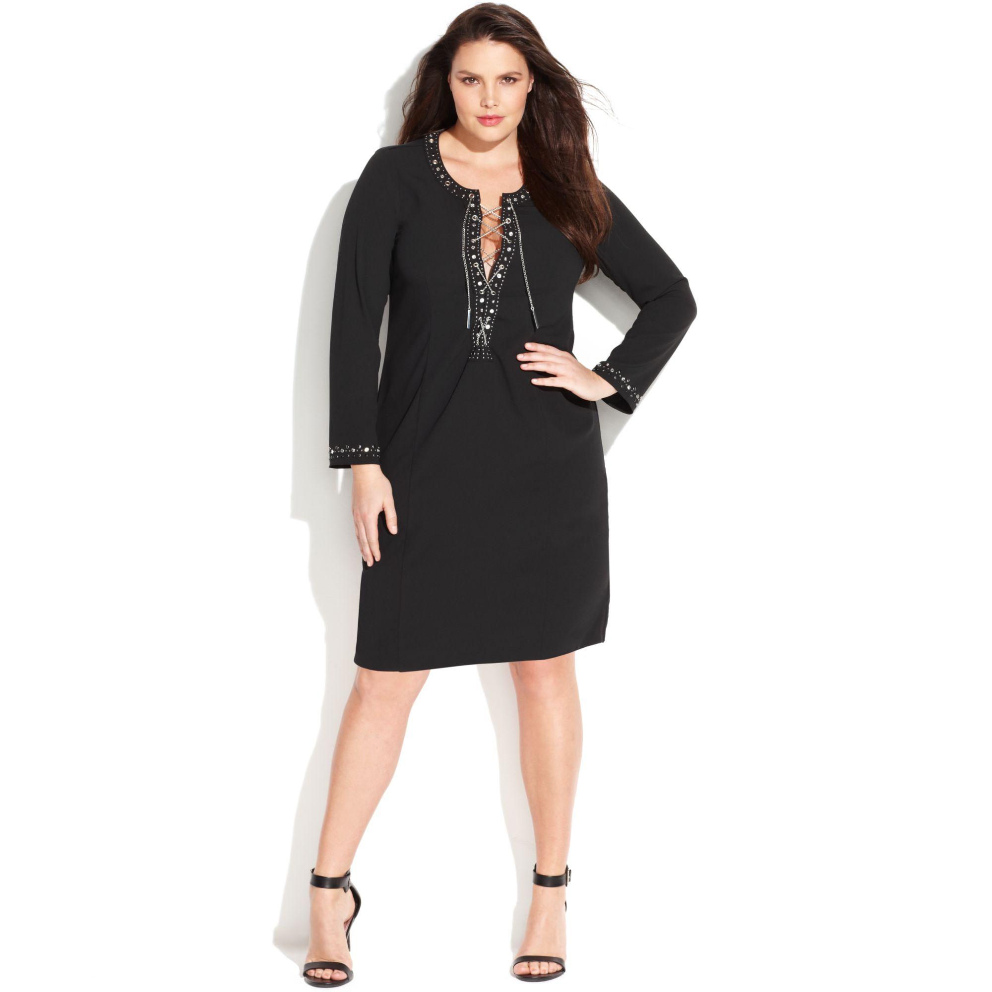 Michael Plus Size Laceup Embellished Sheath Dress