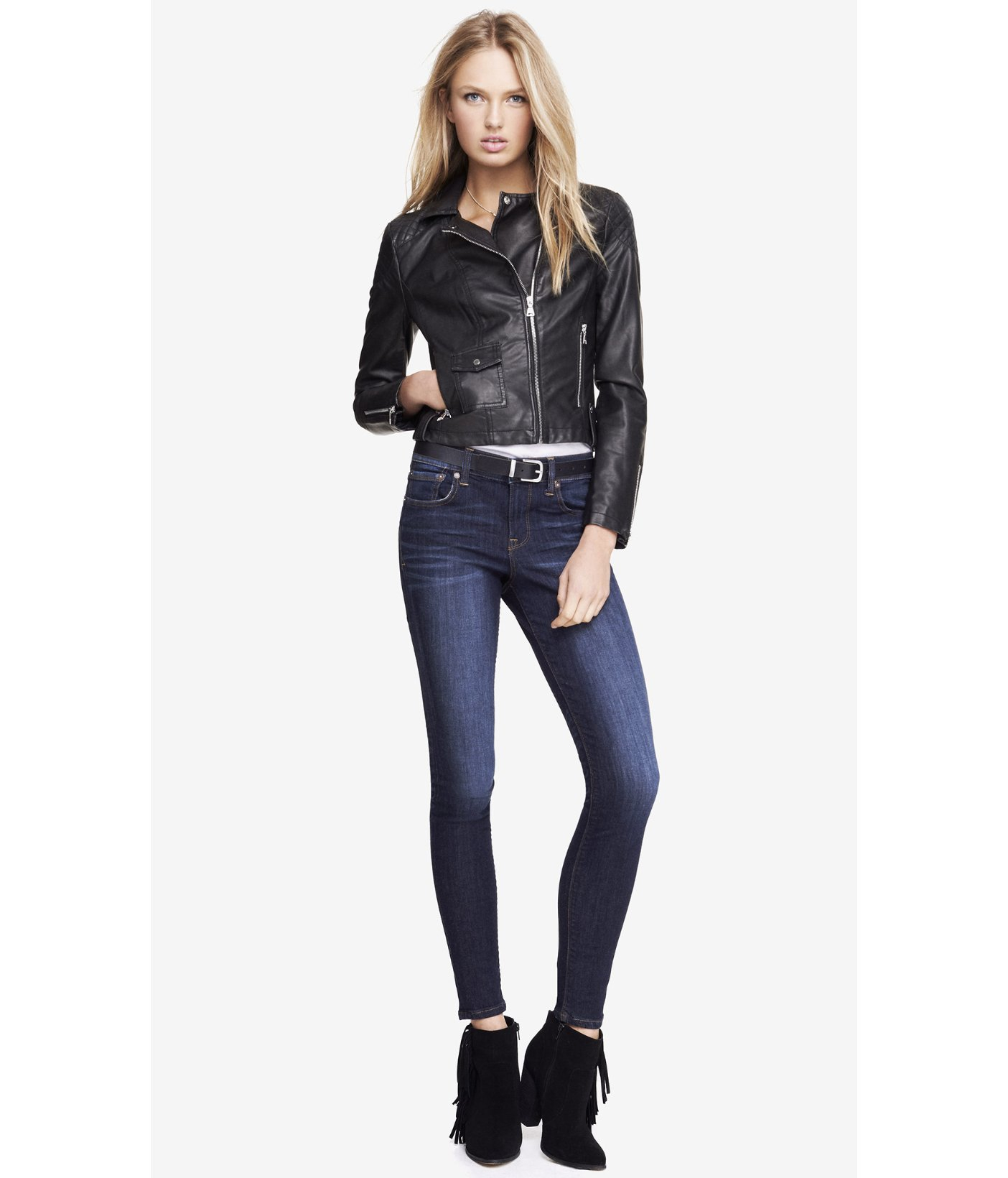 Express Minus The Leather Quilted Shoulder Moto Jacket