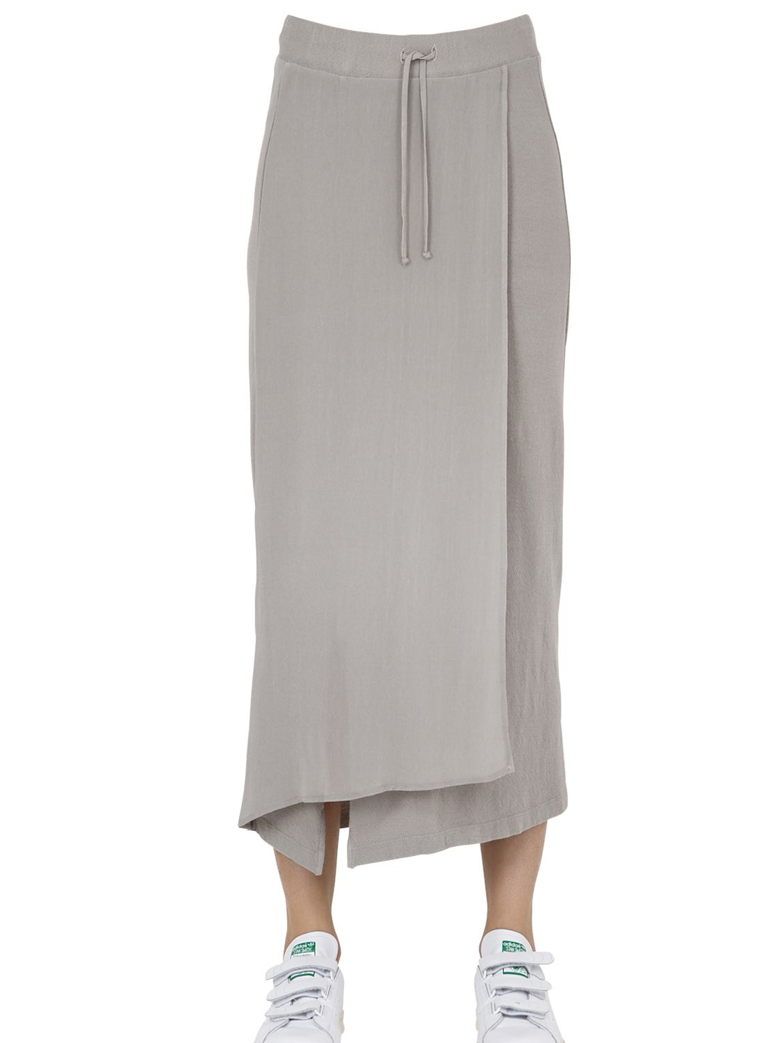 transit cotton blend jersey maxi skirt in gray lyst