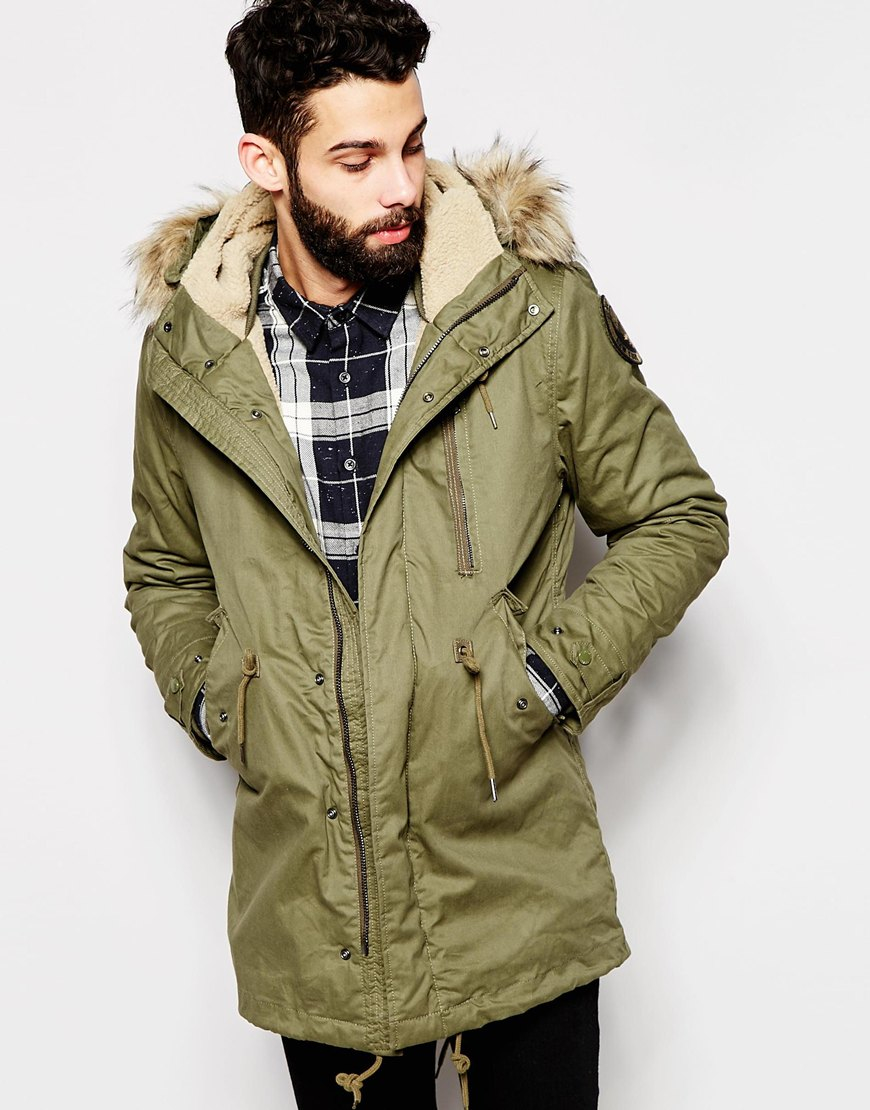 Schott nyc Chott Parka With Borg Lined Hood & Faux Fur Collar in ...