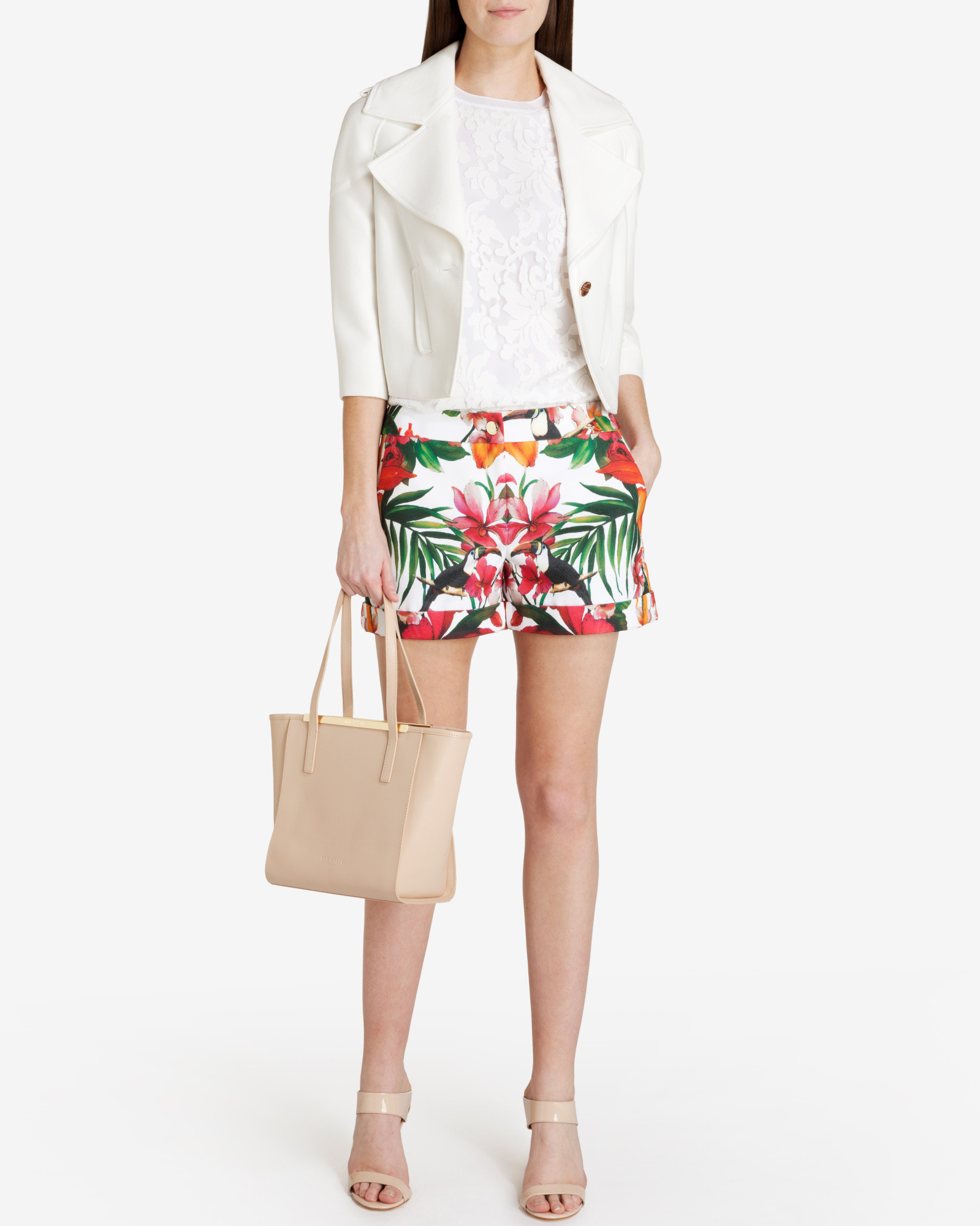 0762d665f70c Lyst - Ted Baker Quellia Tropical Toucan Print Shorts in White