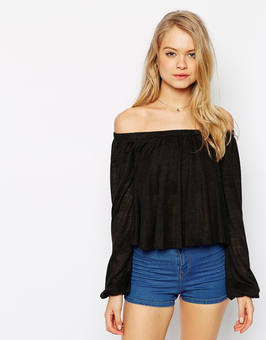 Asos Smock Top With Off Shoulder In Texture With Bell Sleeve in ...