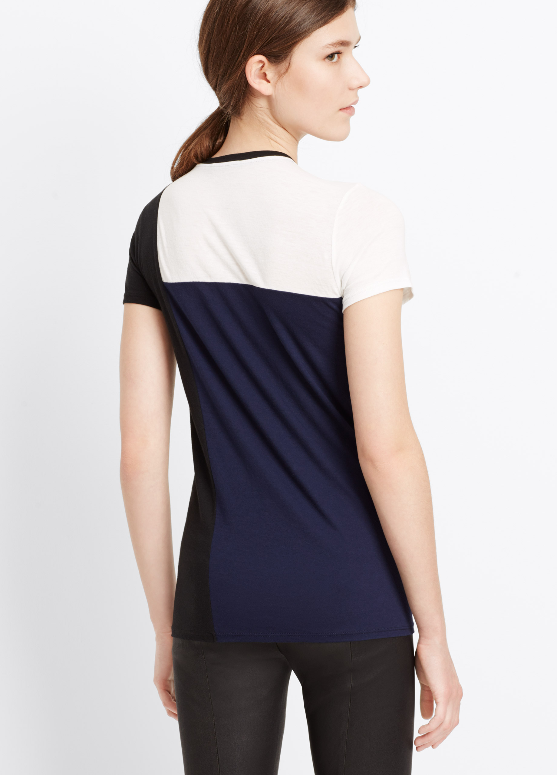 Lyst vince tri colorblock short sleeve tee in blue for Vince tee shirts sale