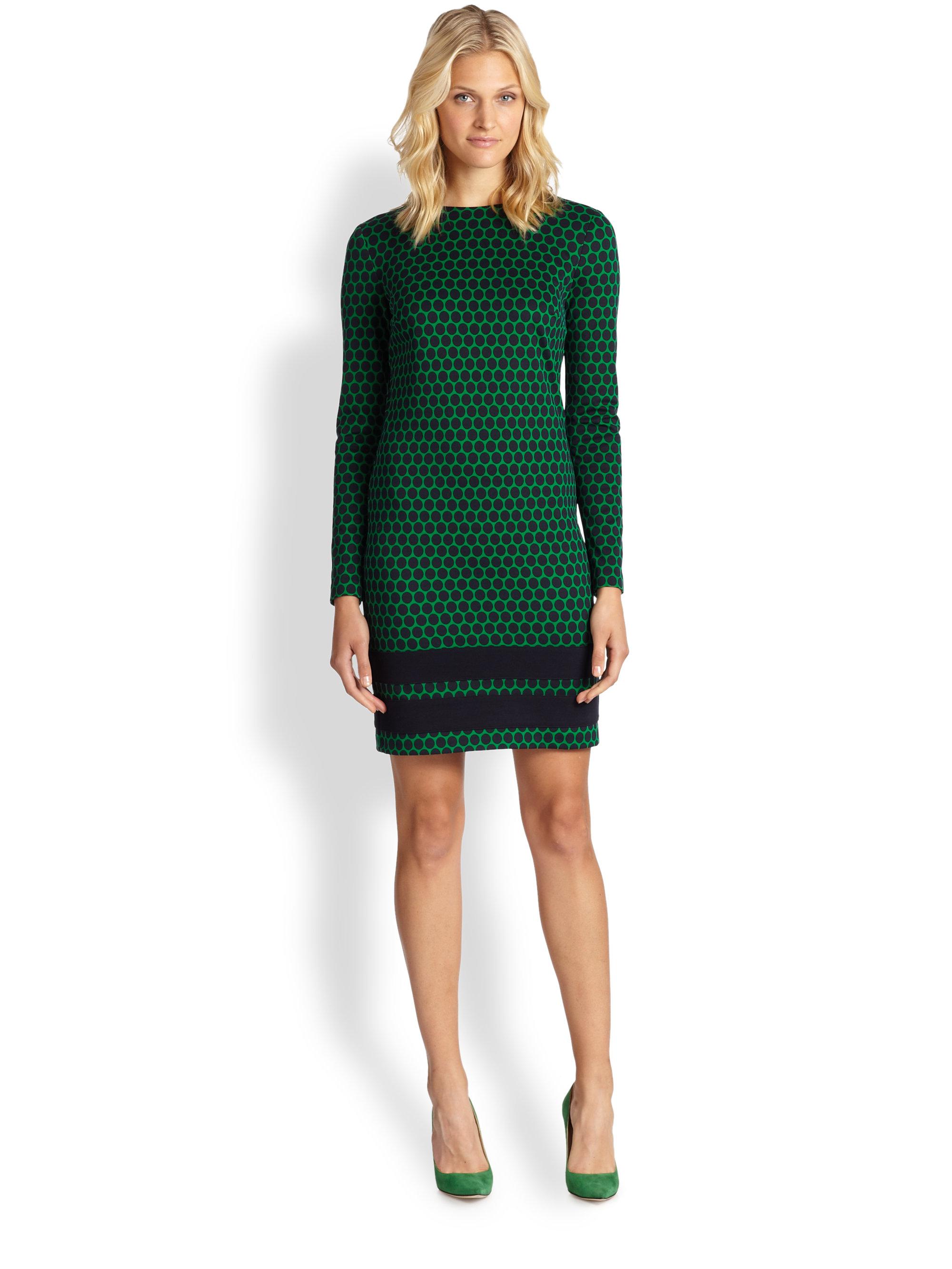 Michael michael kors Long-Sleeve Printed Ponte Dress in Green | Lyst
