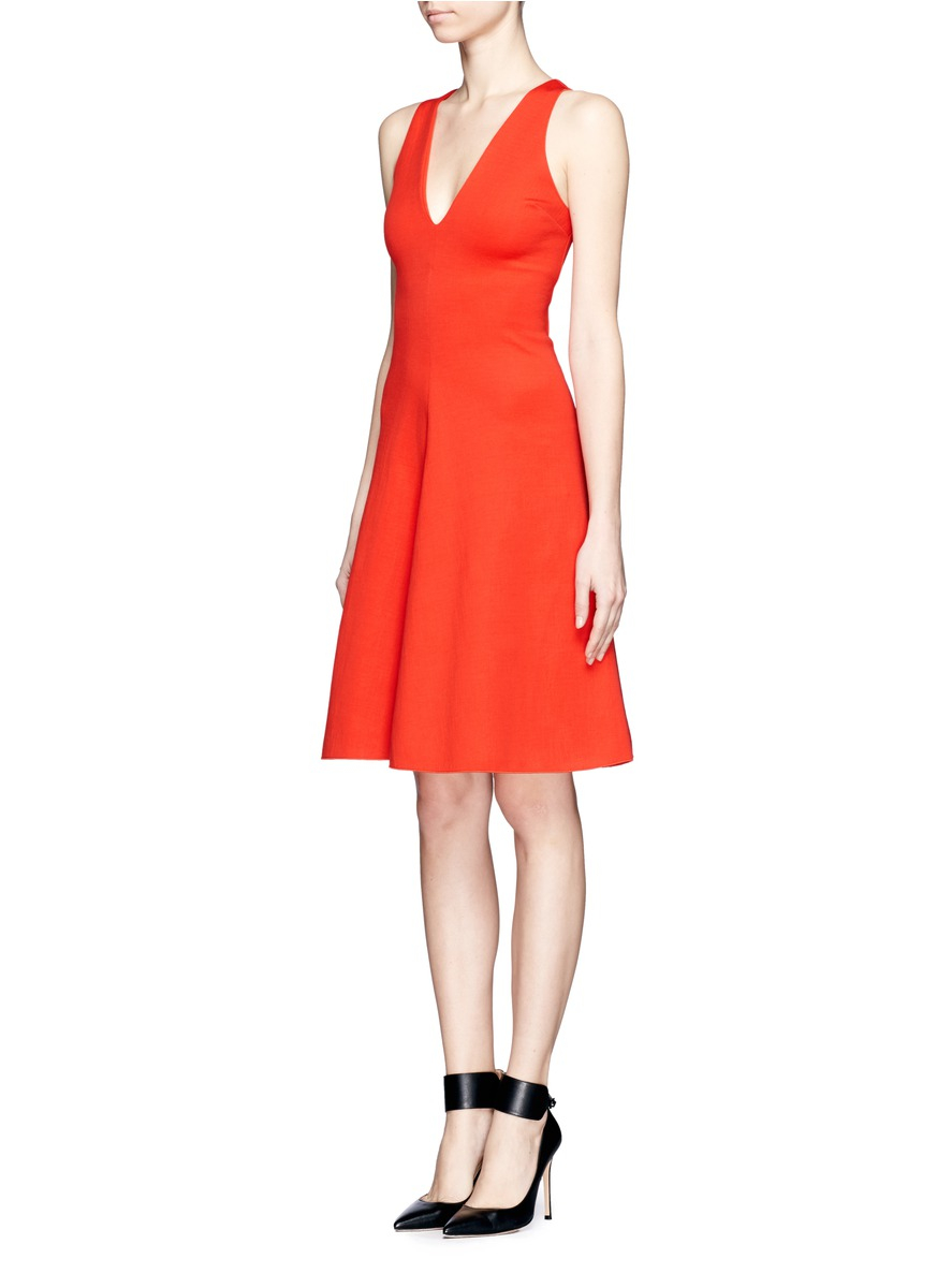 Stella Mccartney Jersey Flare Dress In Red Lyst
