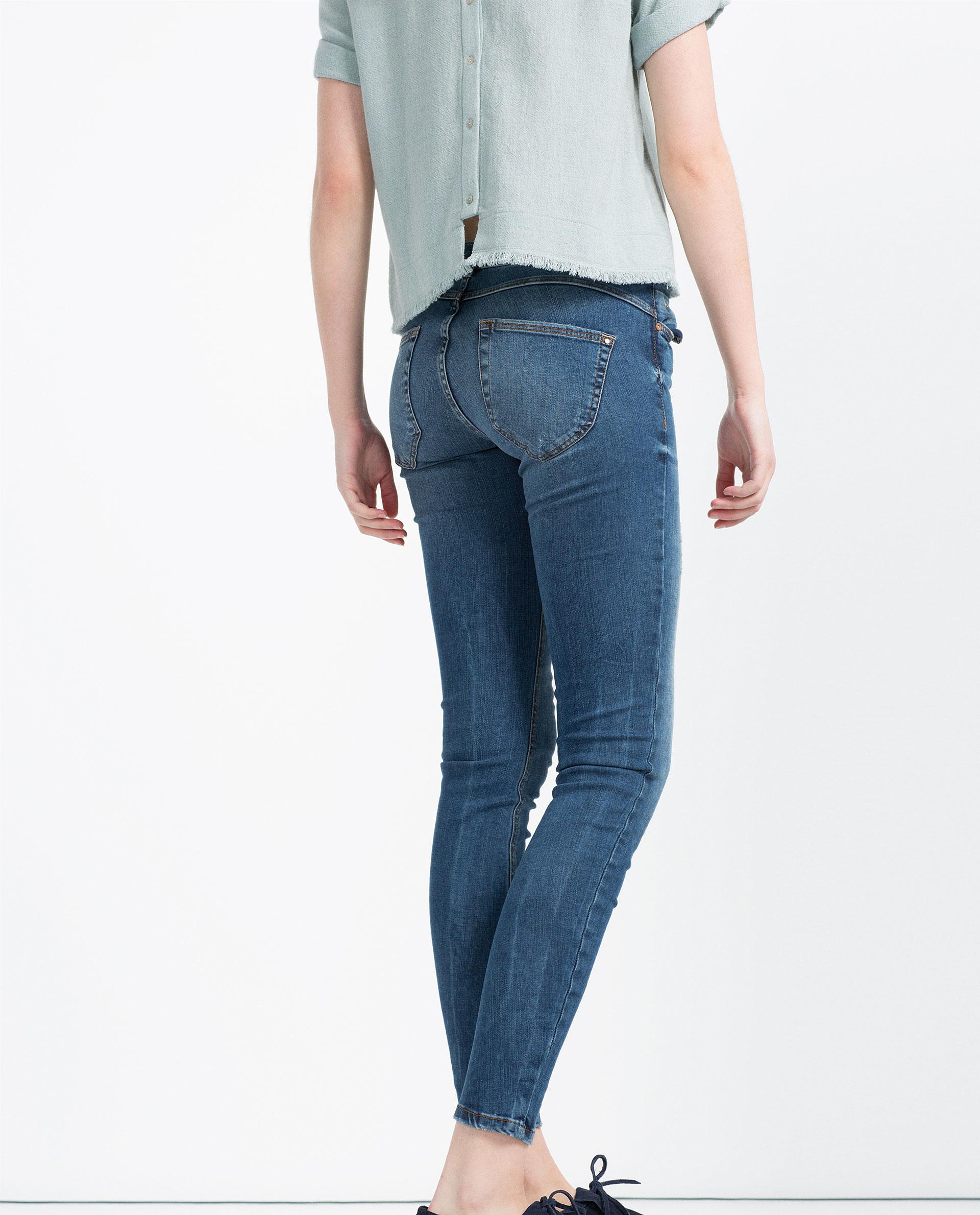 zara push up jeans in blue lyst. Black Bedroom Furniture Sets. Home Design Ideas