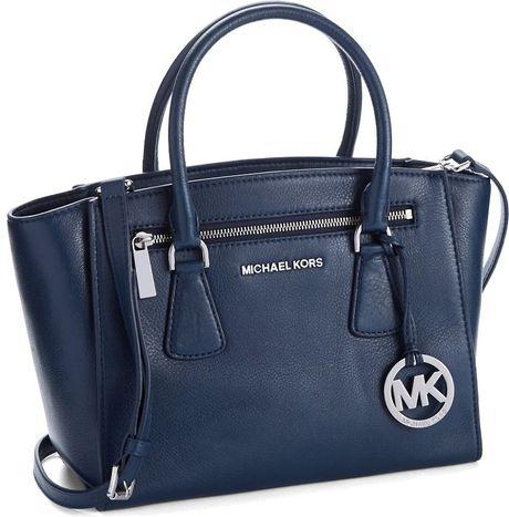 michael michael kors sophie leather medium satchel in blue navy. Black Bedroom Furniture Sets. Home Design Ideas