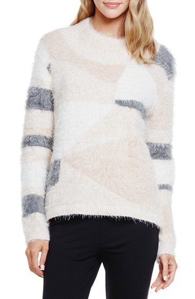 Vince camuto Mixed Yarn Intarsia Turtleneck Eyelash Sweater in ...