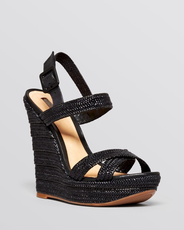 schutz open toe platform wedge sandals jurema in black lyst