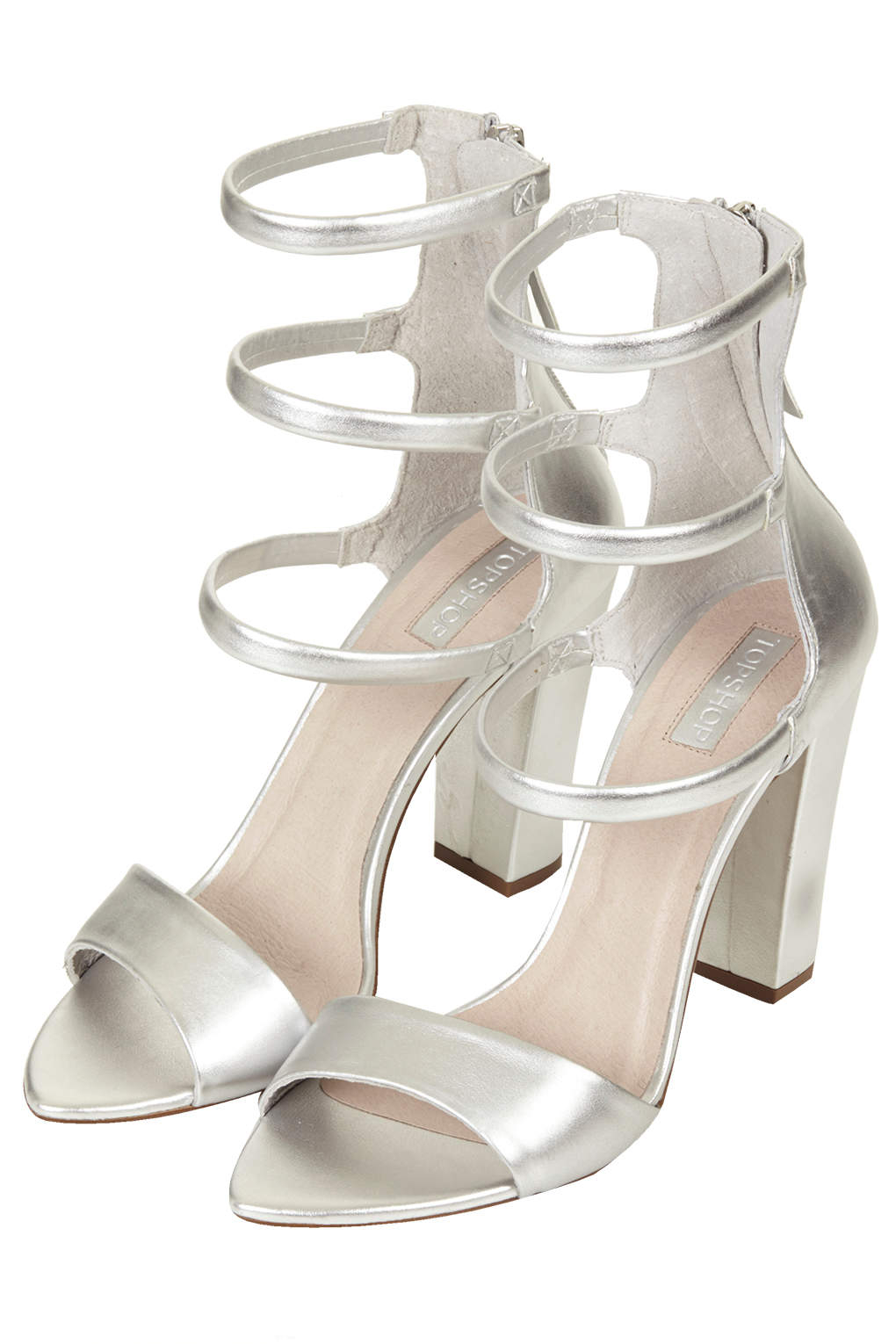Lyst Topshop Romy Padded Strap Sandals In Metallic
