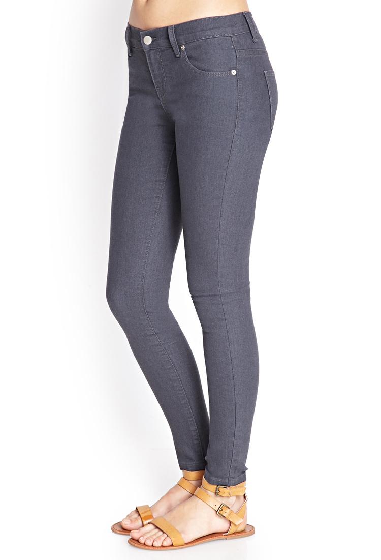 Forever 21 Classic Denim Skinny Jeans In Grey Gray - Lyst-8020