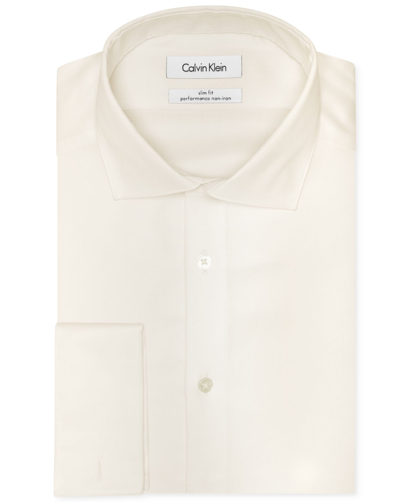 Calvin klein steel men 39 s slim fit non iron performance White french cuff shirt slim fit