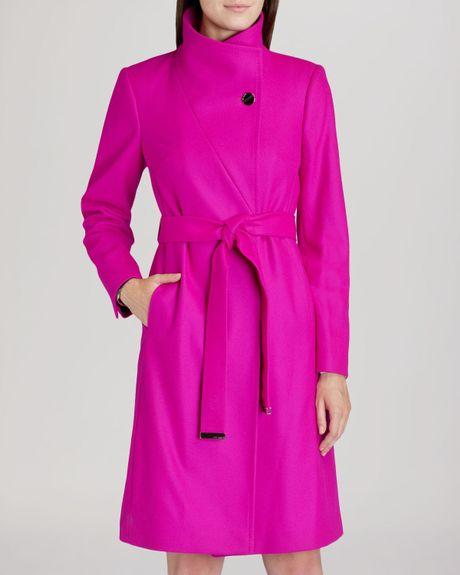 ted baker coat nevia belted wrap in pink deep pink lyst. Black Bedroom Furniture Sets. Home Design Ideas