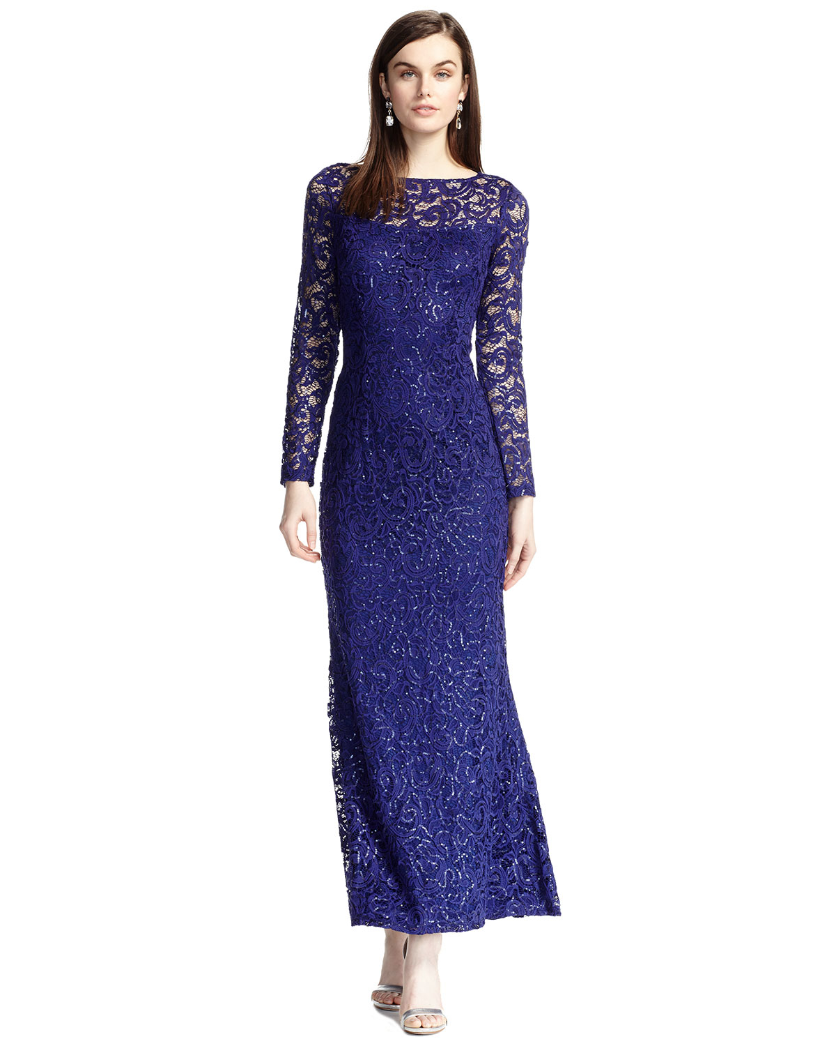 Lyst - Marina Long-sleeve Lace Gown in Blue