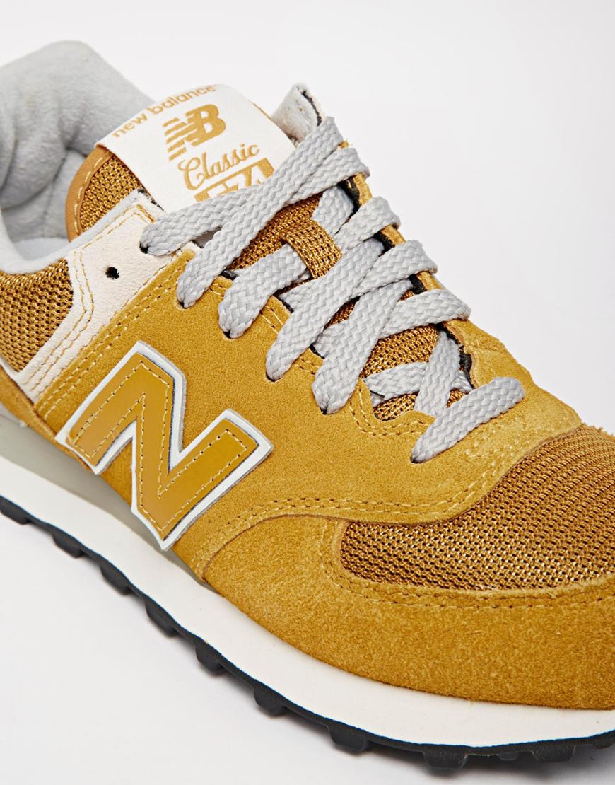 New Balance 574 Yellow Suede/Mesh Sneakers - Lyst