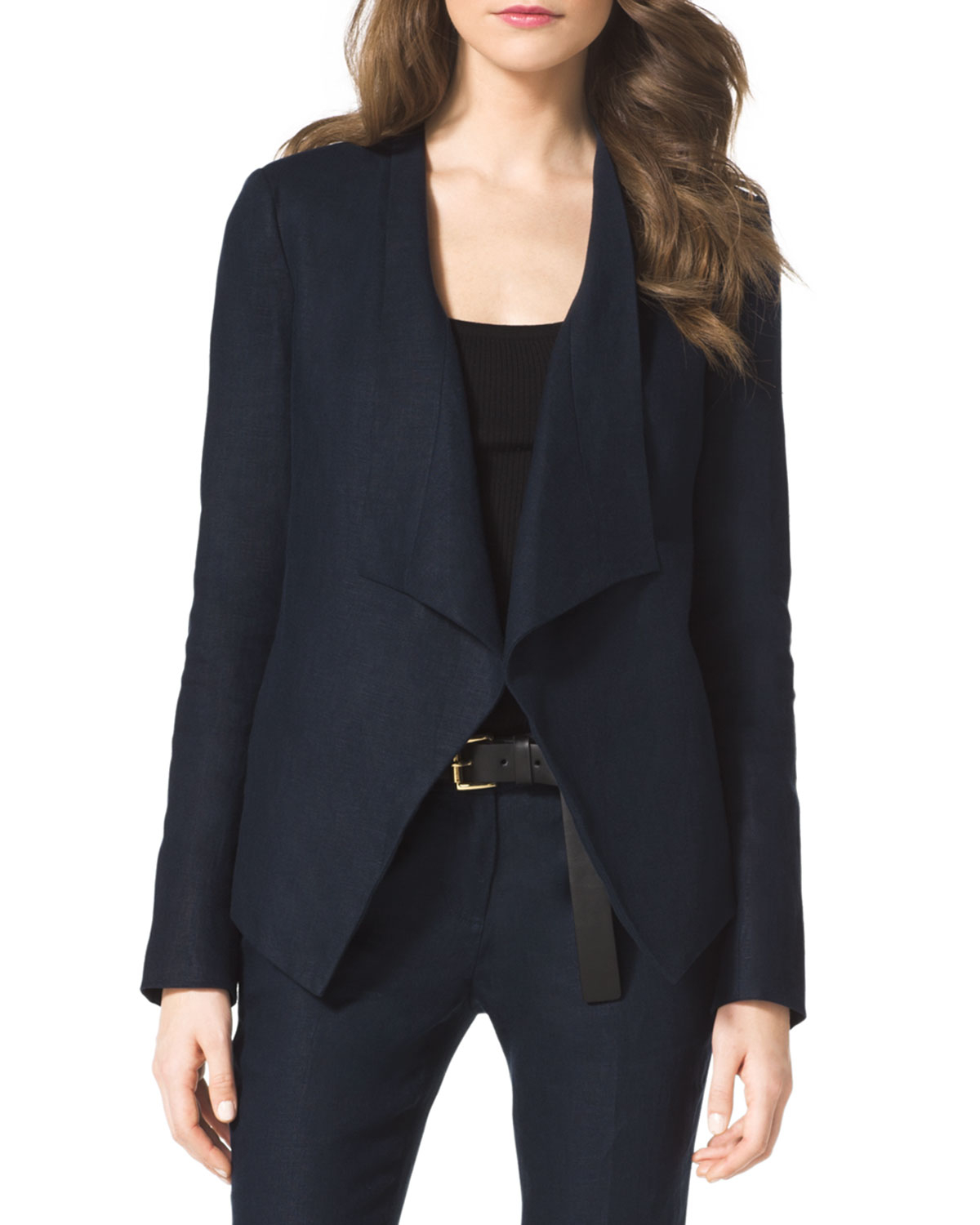 michael michael kors linen drapefront blazer in blue indigo lyst. Black Bedroom Furniture Sets. Home Design Ideas