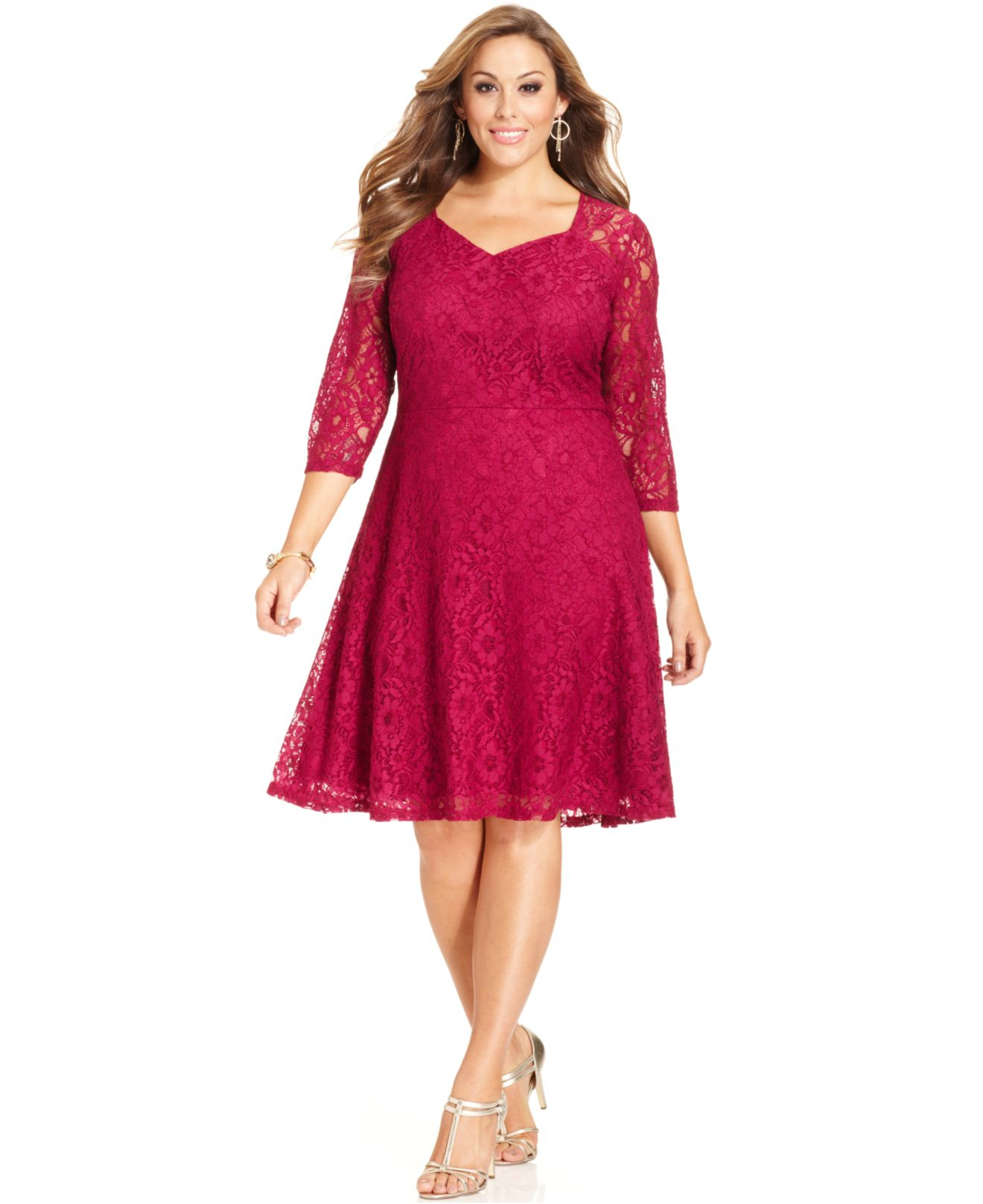 Spense Red Plus Size Three-quarter-sleeve Lace A-line Dress