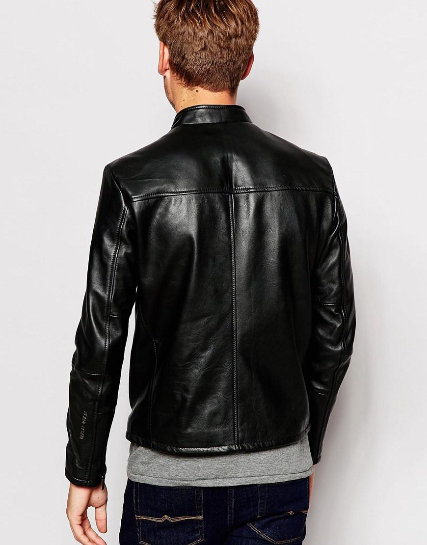 Lyst Replay Leather Biker Jacket Vintage Look In Black
