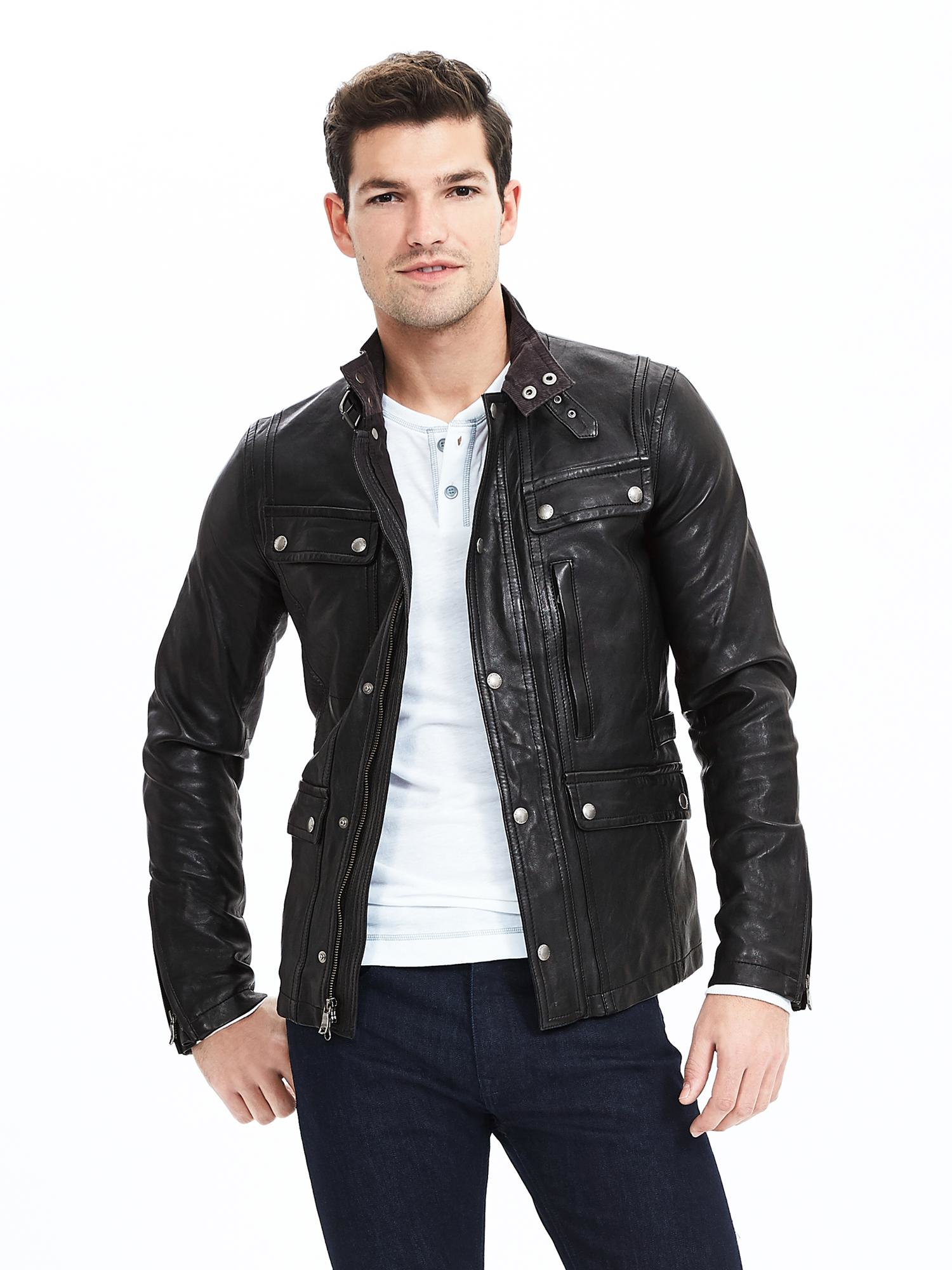 Banana republic Black Genuine Leather Jacket in Black for Men  Lyst