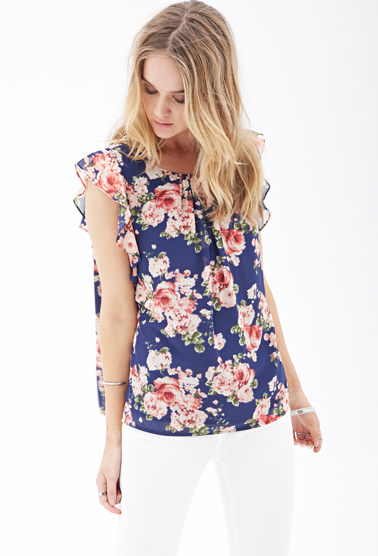 forever 21 ruffled floral chiffon blouse in blue  navy  coral