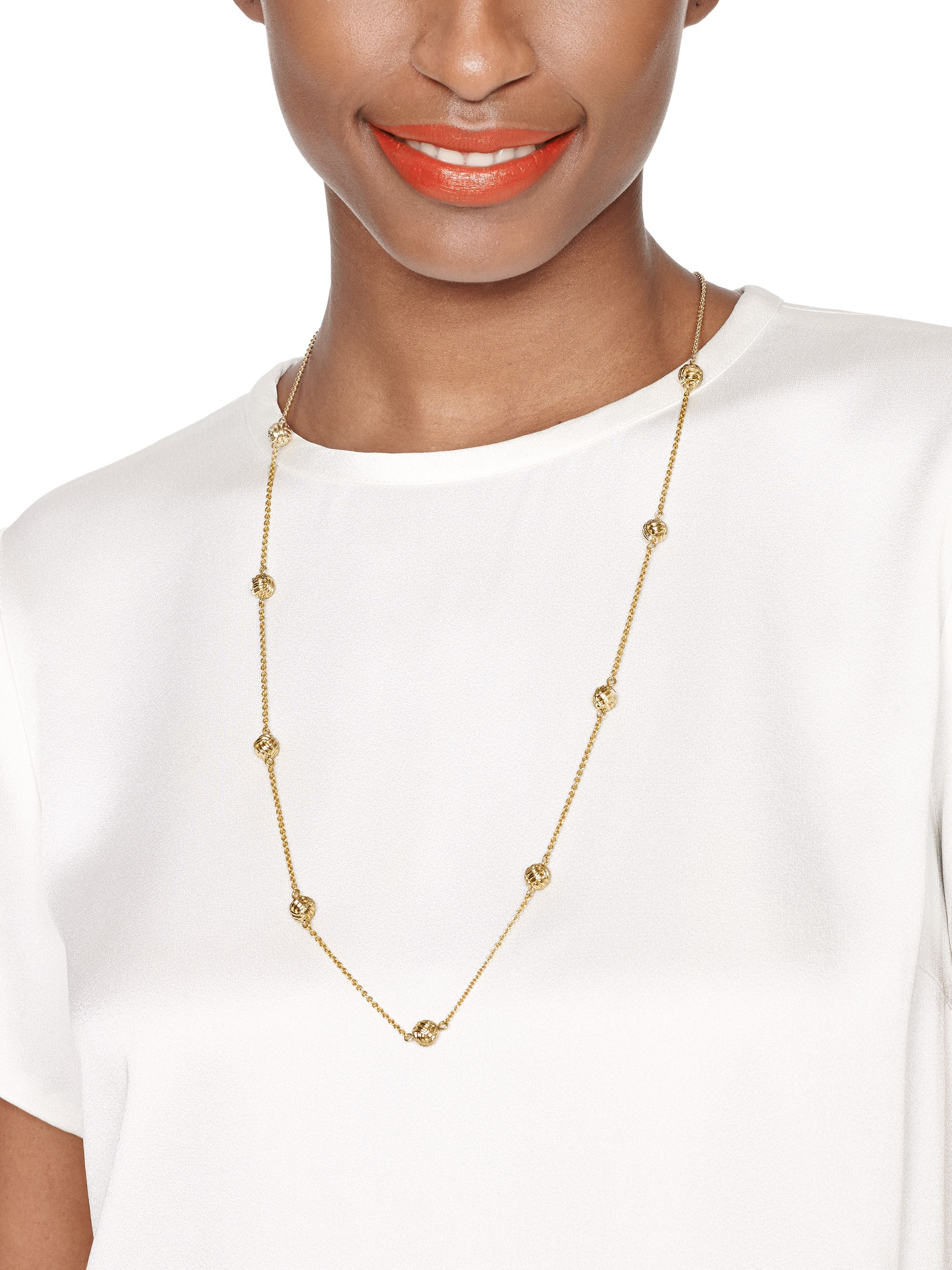 Kate Spade Knotted Rope Scatter Necklace In Gold Metallic