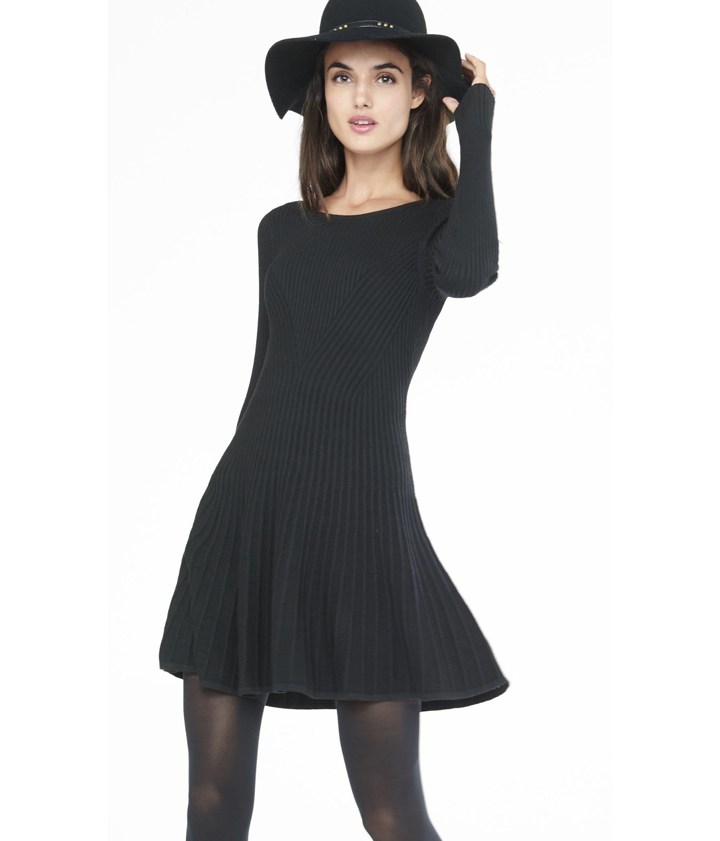 Express Black Ribbed Fit And Flare Sweater Dress In Black