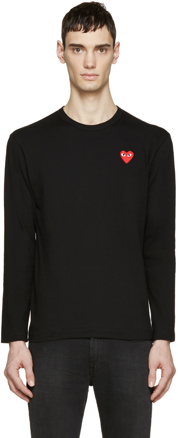 Play Comme Des Gar Ons Black Long Sleeve Heart Patch T