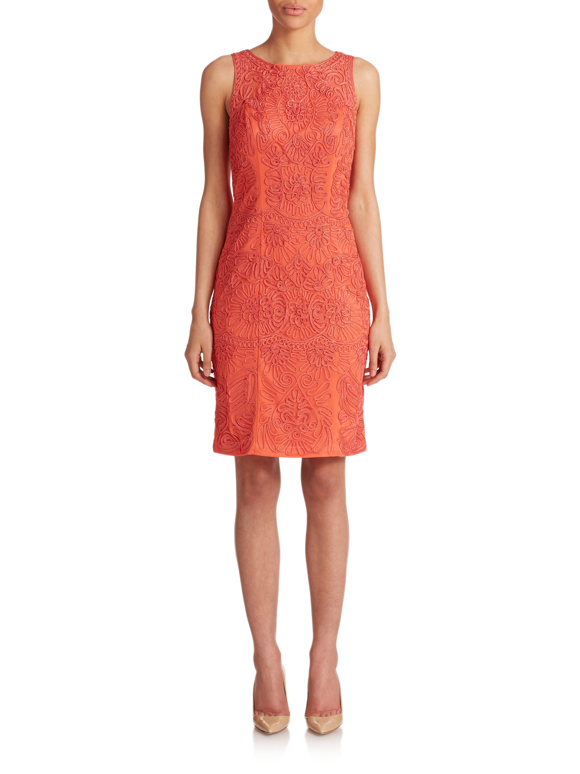 Lyst sue wong soutache embroidered dress in red