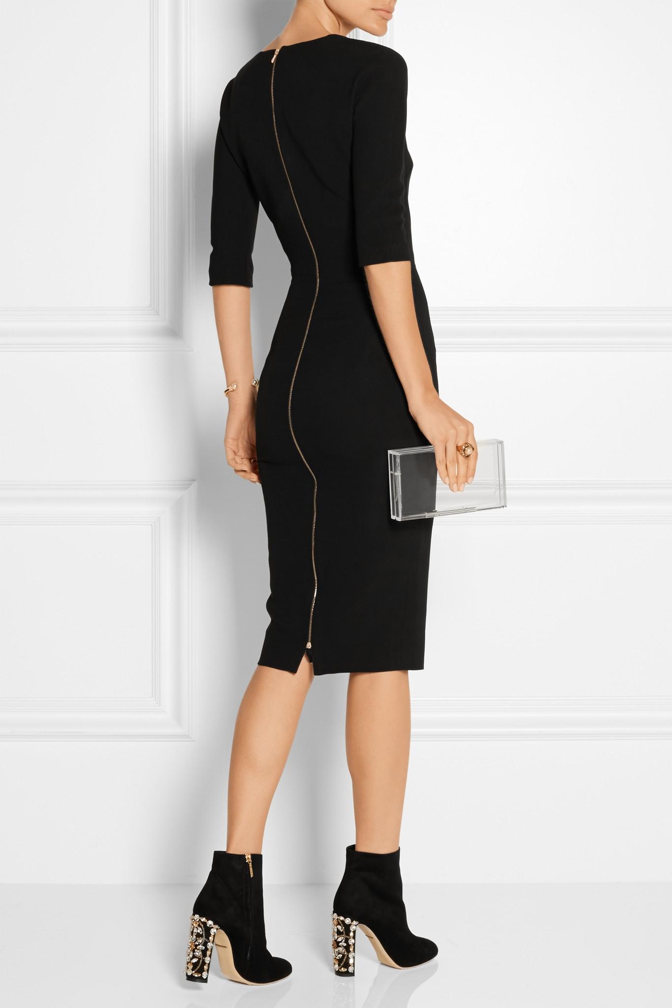 Dolce & Gabbana Crystal-embellished Suede Ankle Boots in Black