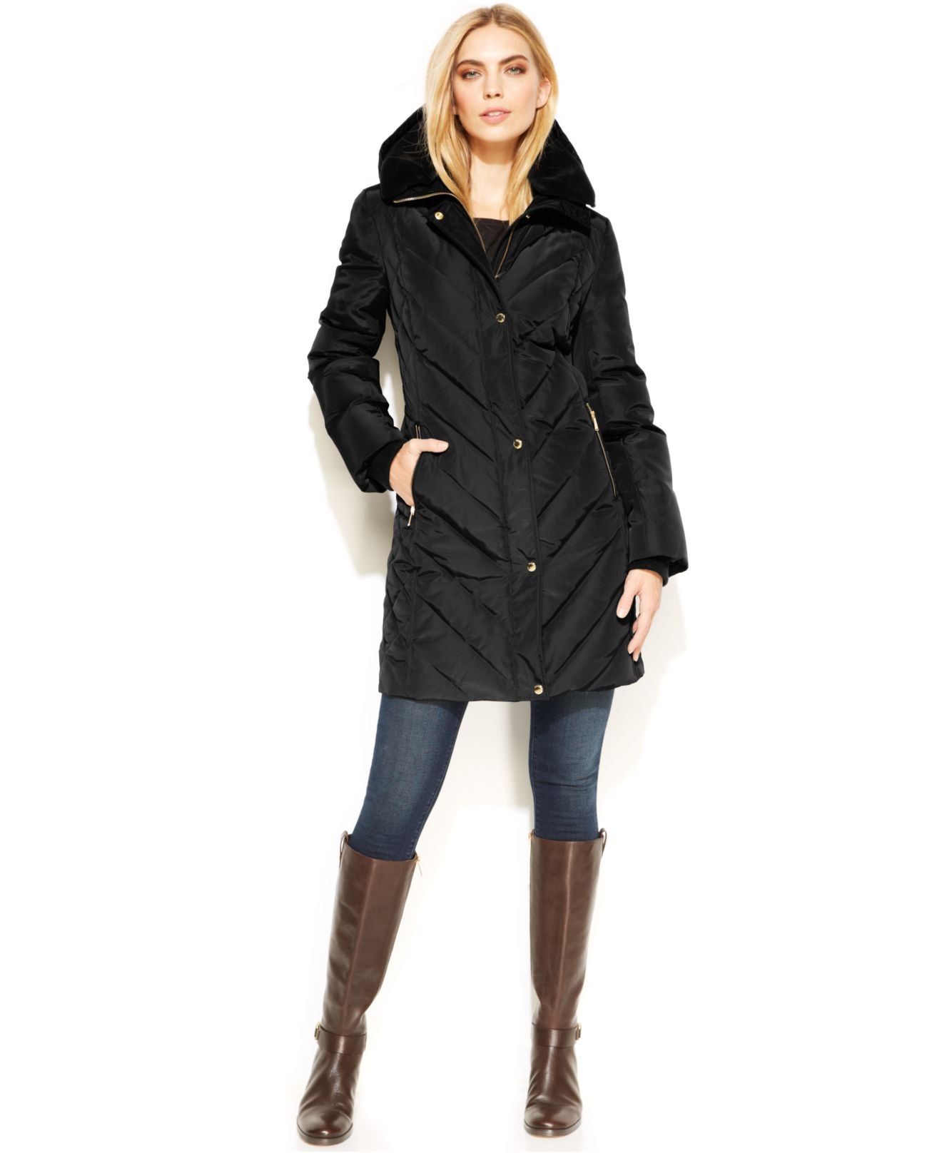 Lyst Michael Kors Michael Faux Fur Hooded Quilted Down