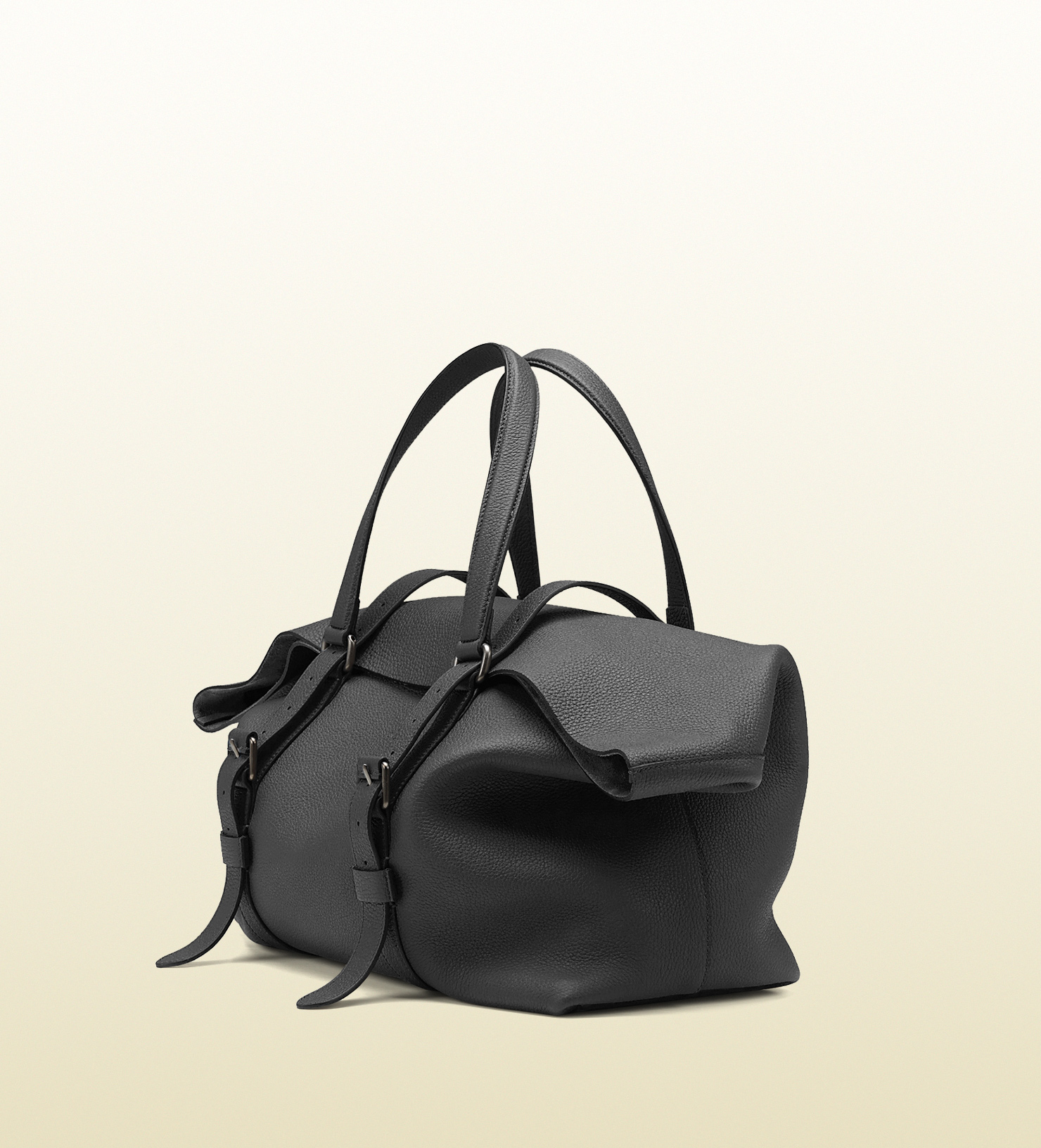 Gucci Leather Top Handle Duffle Bag In Black For Men Lyst