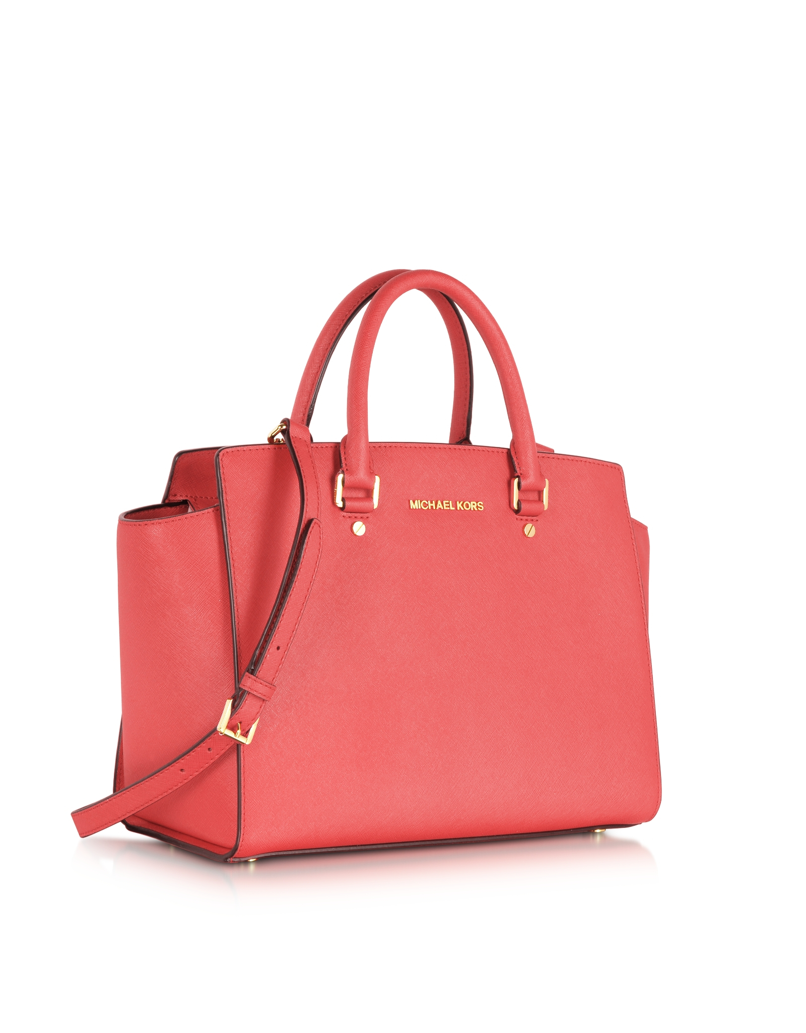 6f229e8a39493 Lyst - Michael Kors Large Selma Top-zip Saffiano Leather Satchel in Red