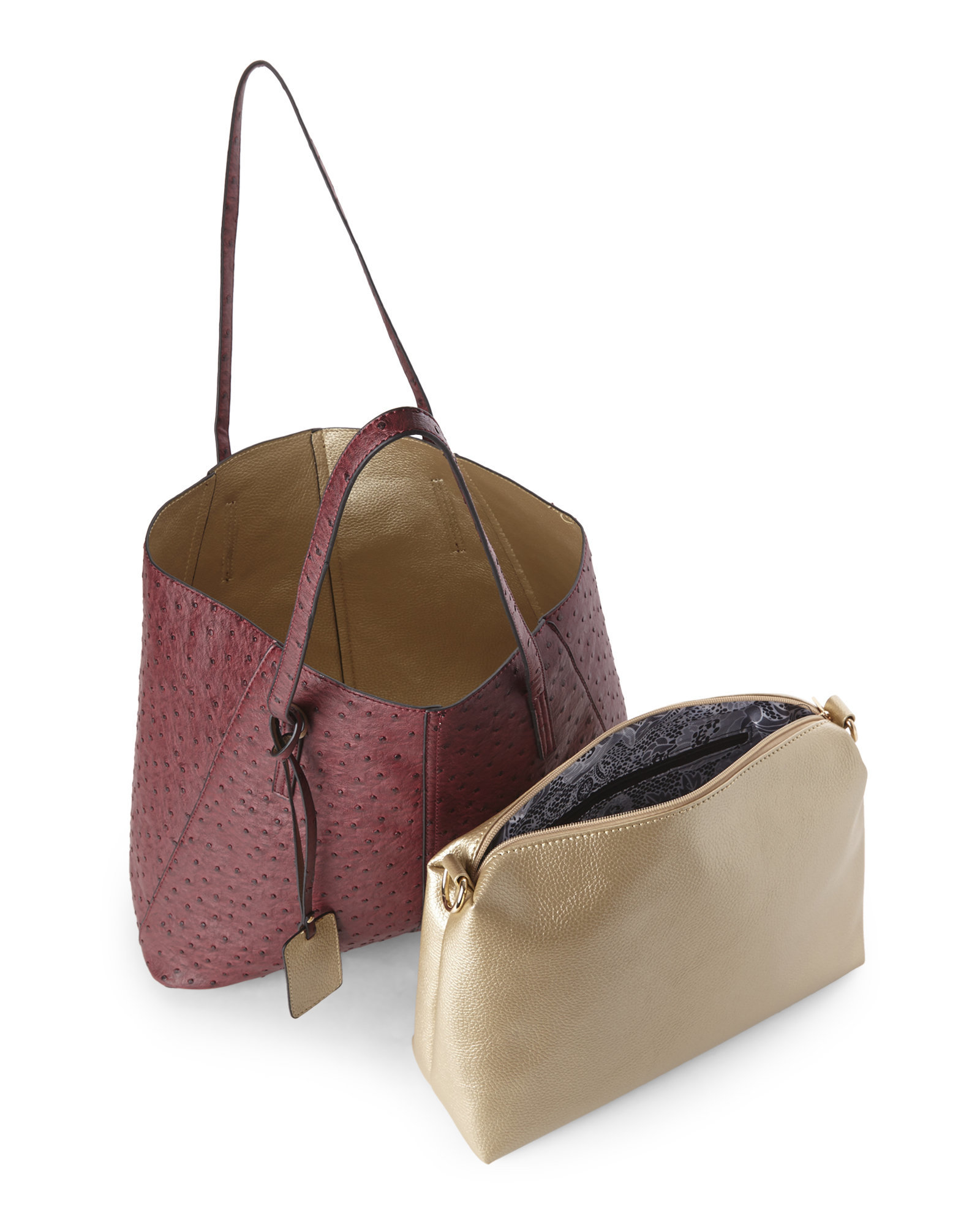 Lyst Imoshion Wine Ostrich Gold Reversible Bag In Tote Metallic