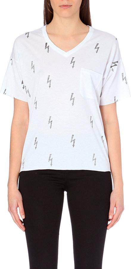 59e6052fd Zoe Karssen Lightning Bolts Jersey T-Shirt - For Women in White - Lyst
