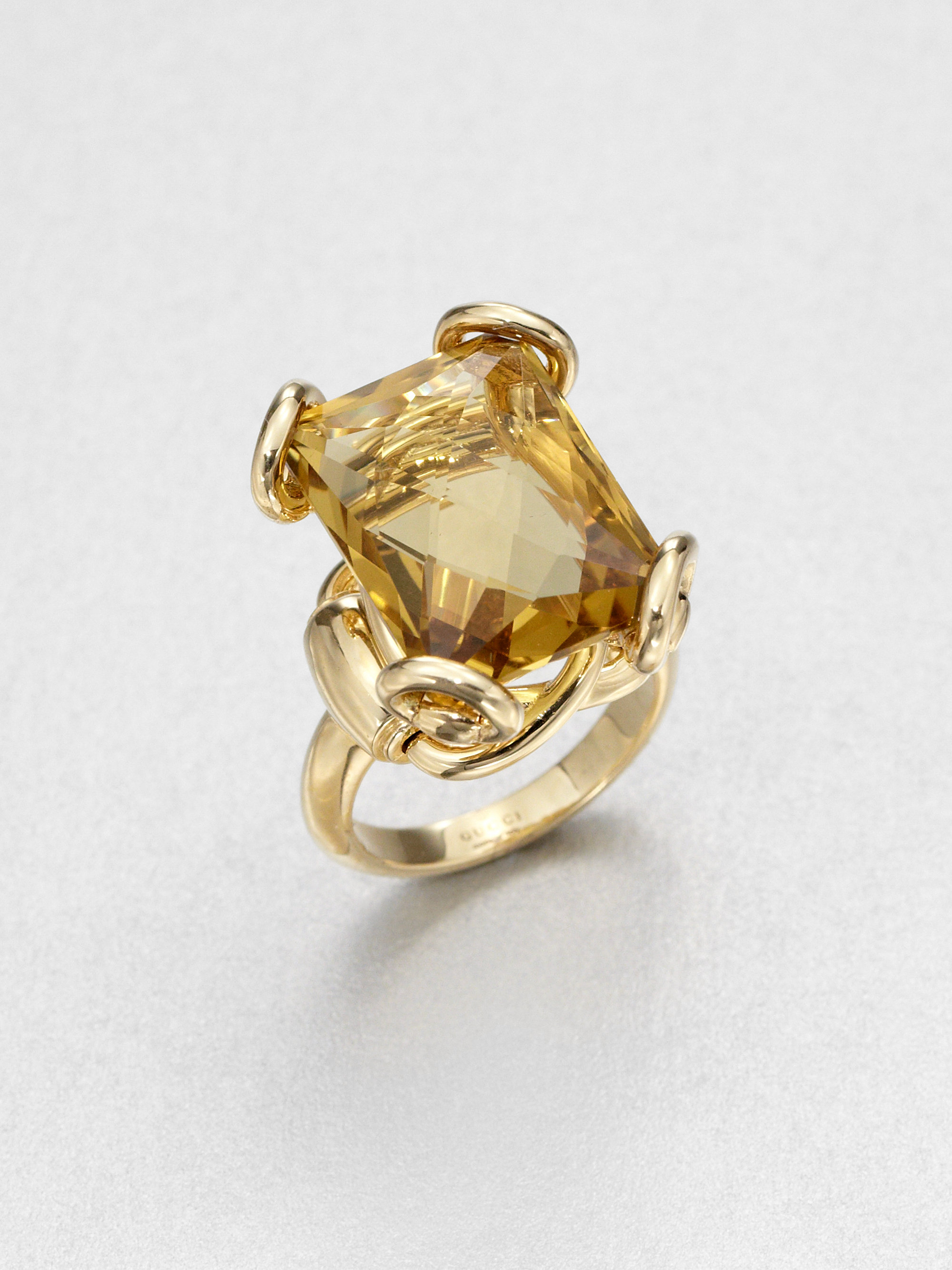 0c576e16c8 Gucci Metallic Horsebit Cognac Quartz & 18K Yellow Gold Cocktail Ring