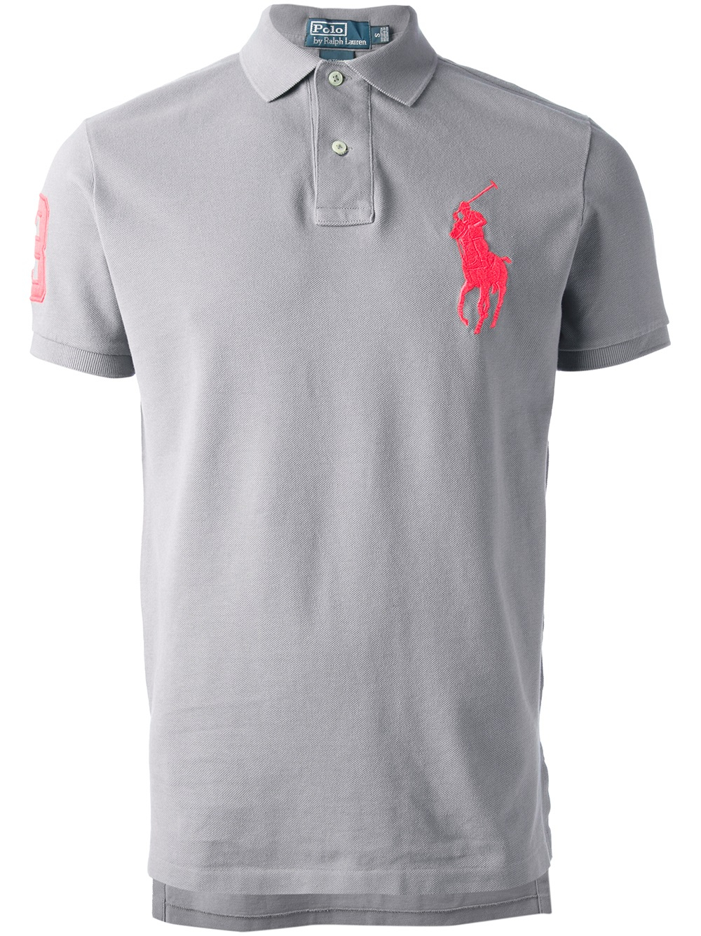 Lyst polo ralph lauren logo polo shirt in gray for men for Polo shirts with logos