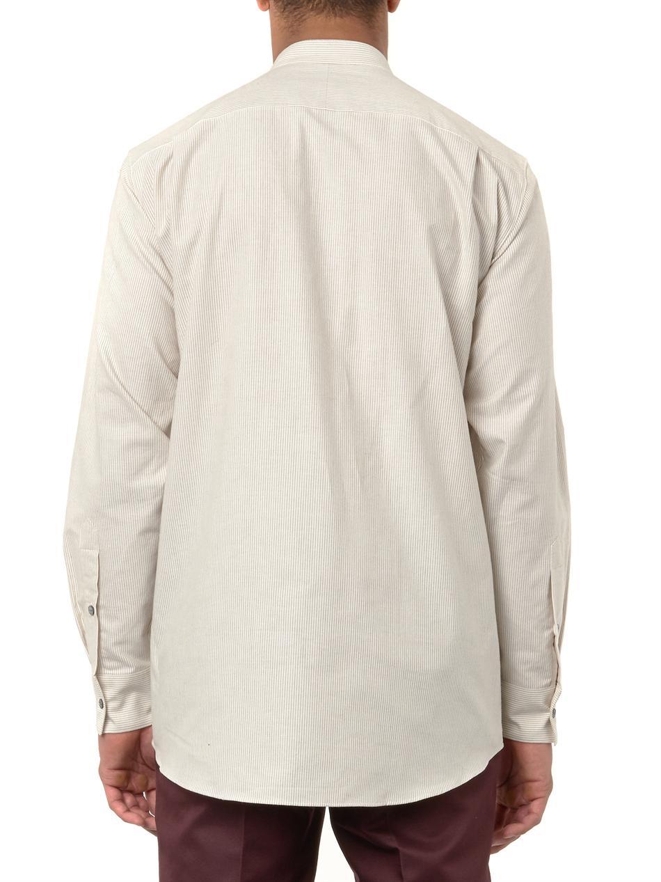 Asymmetric-striped cotton shirt Christophe Lemaire Discount Marketable Sale Buy W3u7HEDQX