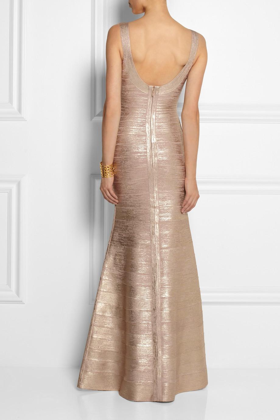 Herv 233 L 233 Ger Ellen Metallic Bandage Gown In Pink Lyst