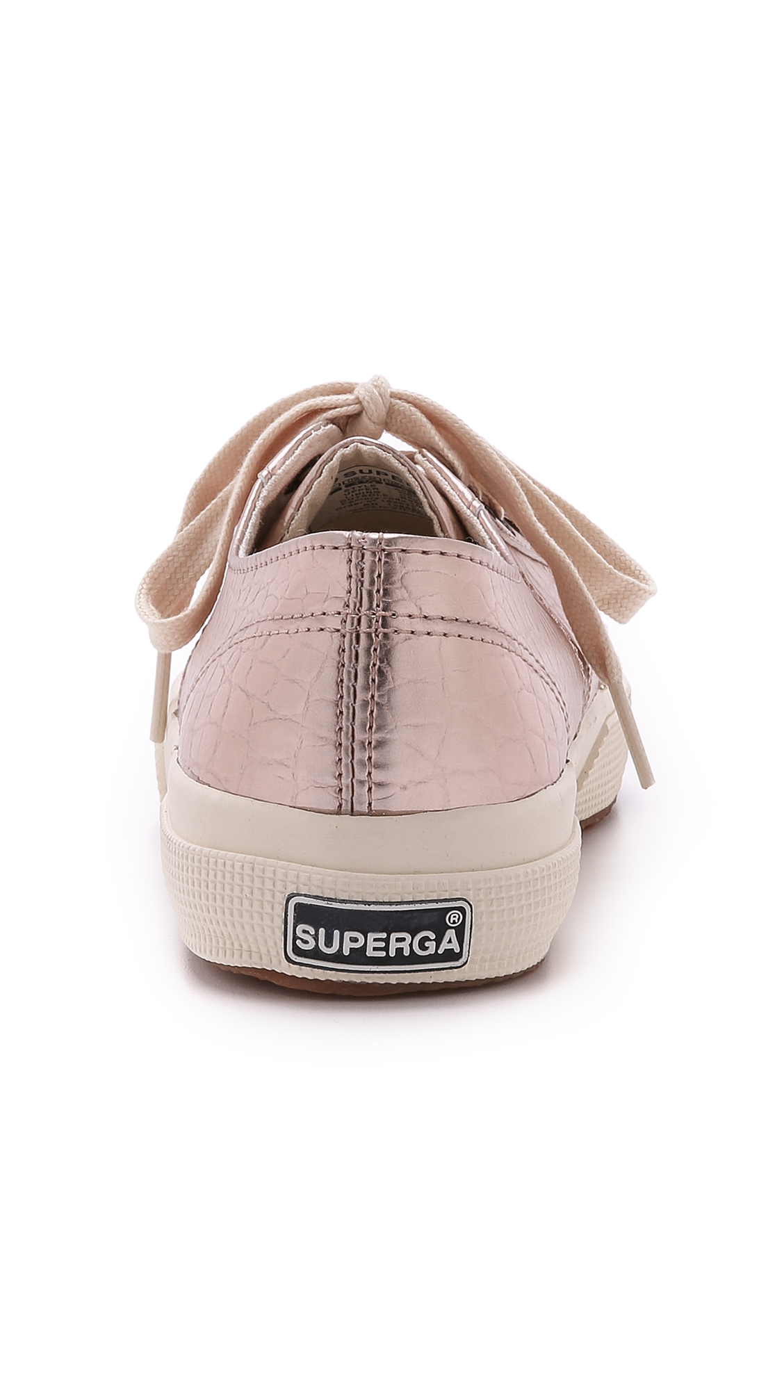 lyst superga cotu metallic croc sneakers rose gold in pink. Black Bedroom Furniture Sets. Home Design Ideas