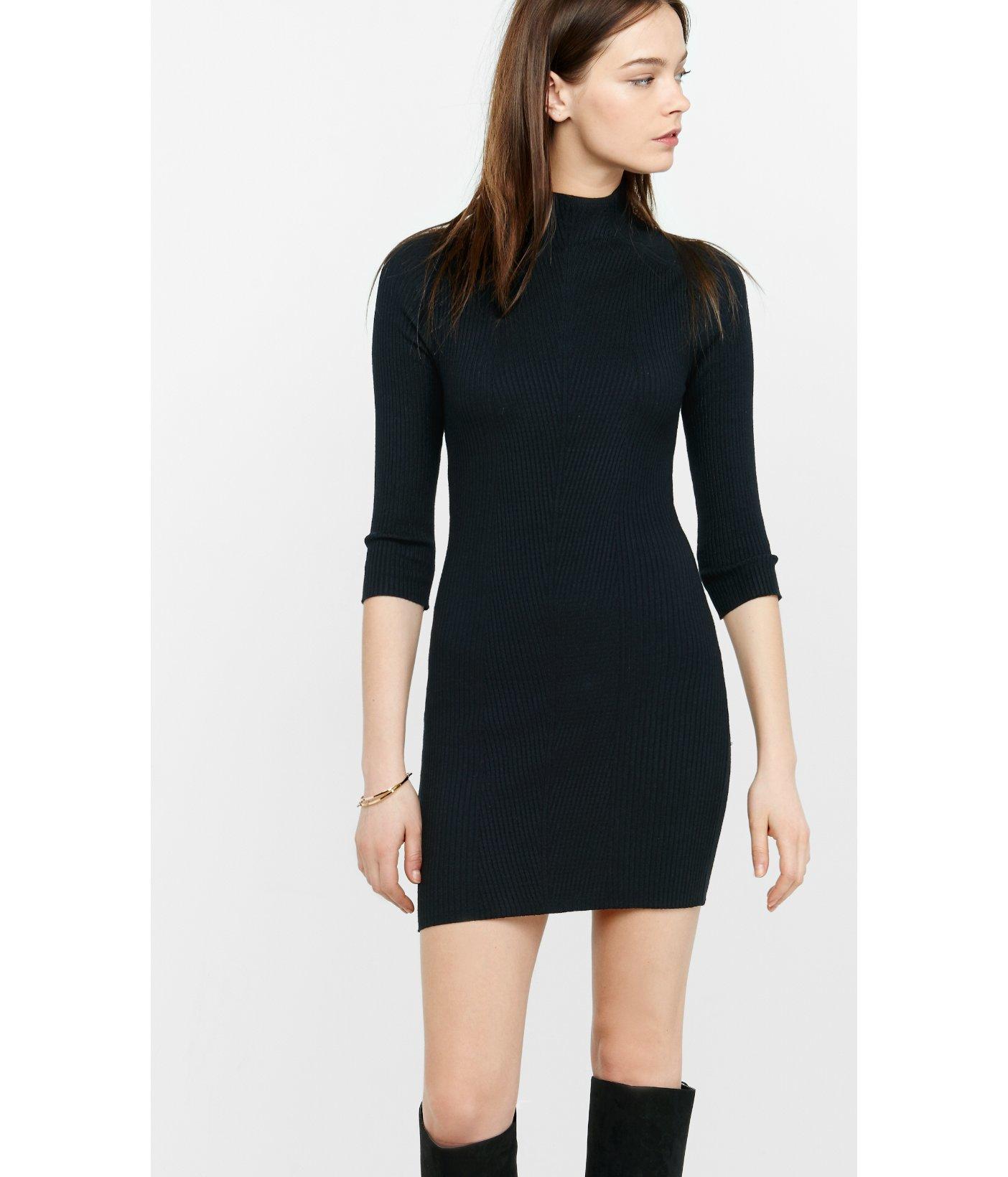 248453642cf Lyst - Express Mock Neck Engineered Rib Sweater Dress in Black