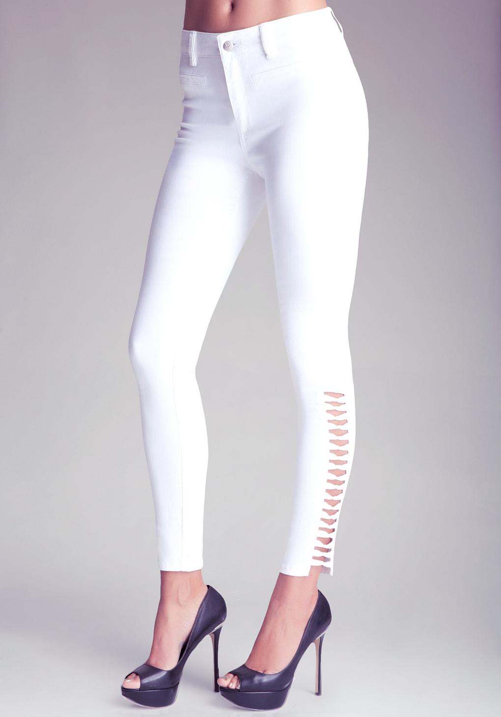 Liu jo Mid Rise Ankle Zip Skinny Leg Jeans in White | Lyst