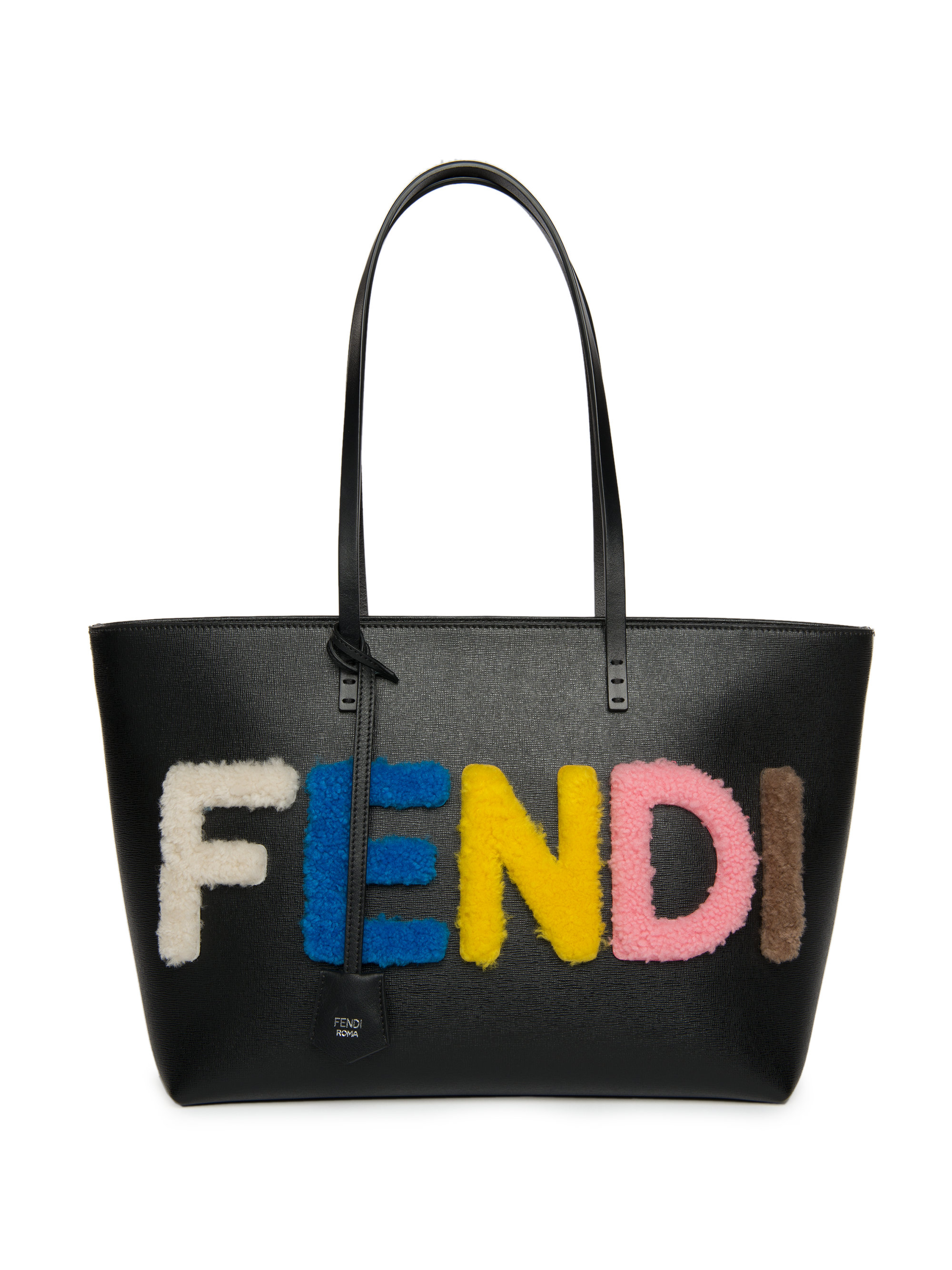 lyst fendi logo small multicolor shearling saffiano leather roll bag