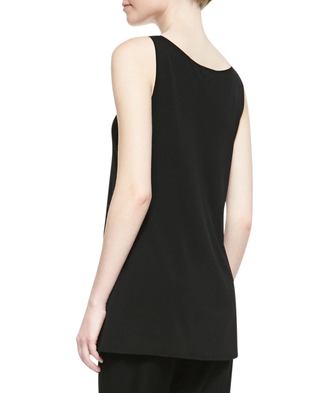 Lyst - Eileen Fisher Long Silk Jersey Tunic Tank in Black
