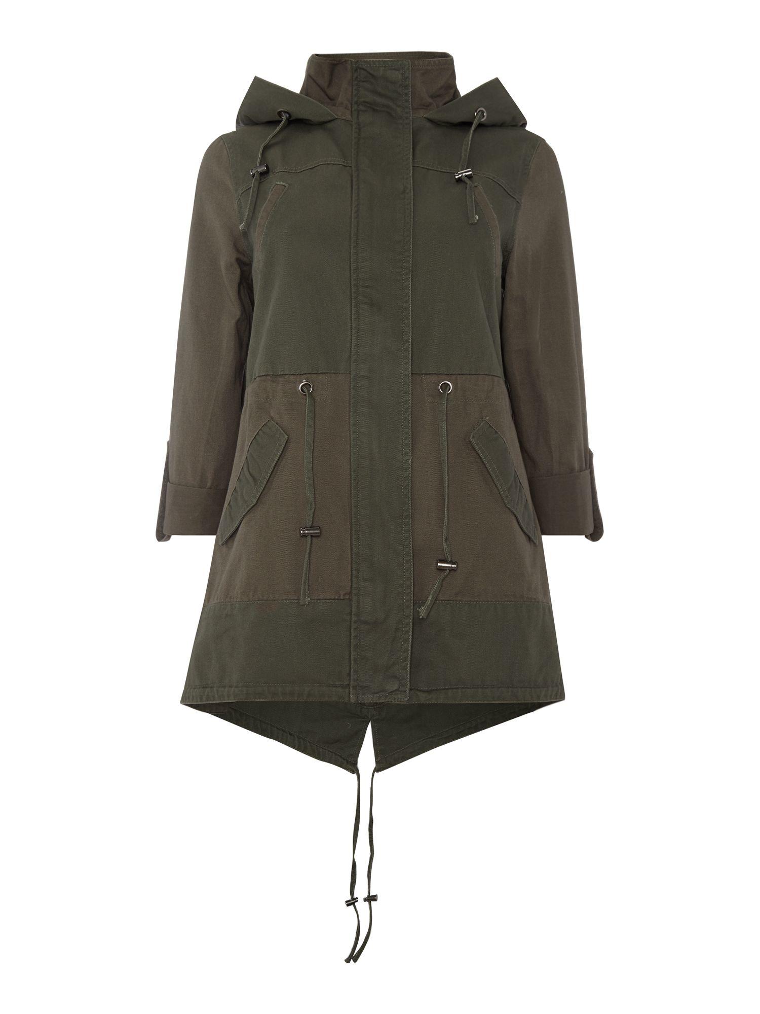 Label lab Tonal Block Lightweight Parka Jacket in Green | Lyst
