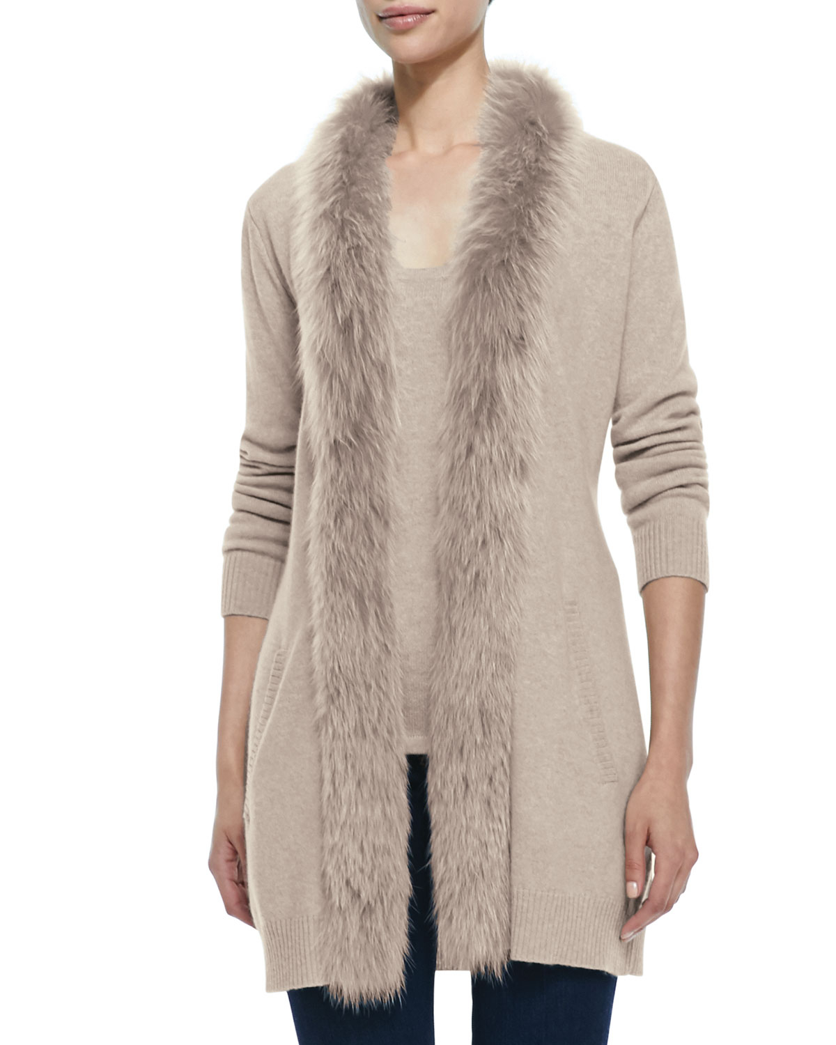 Sofia cashmere Fur-Trimmed Cashmere Cardigan in Natural | Lyst