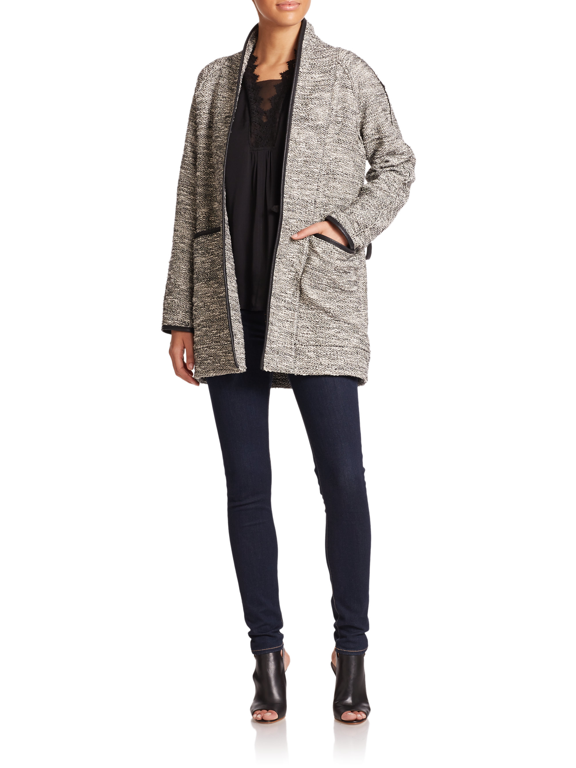 Rebecca taylor Faux Leather-trim Tweed Coat in Gray | Lyst