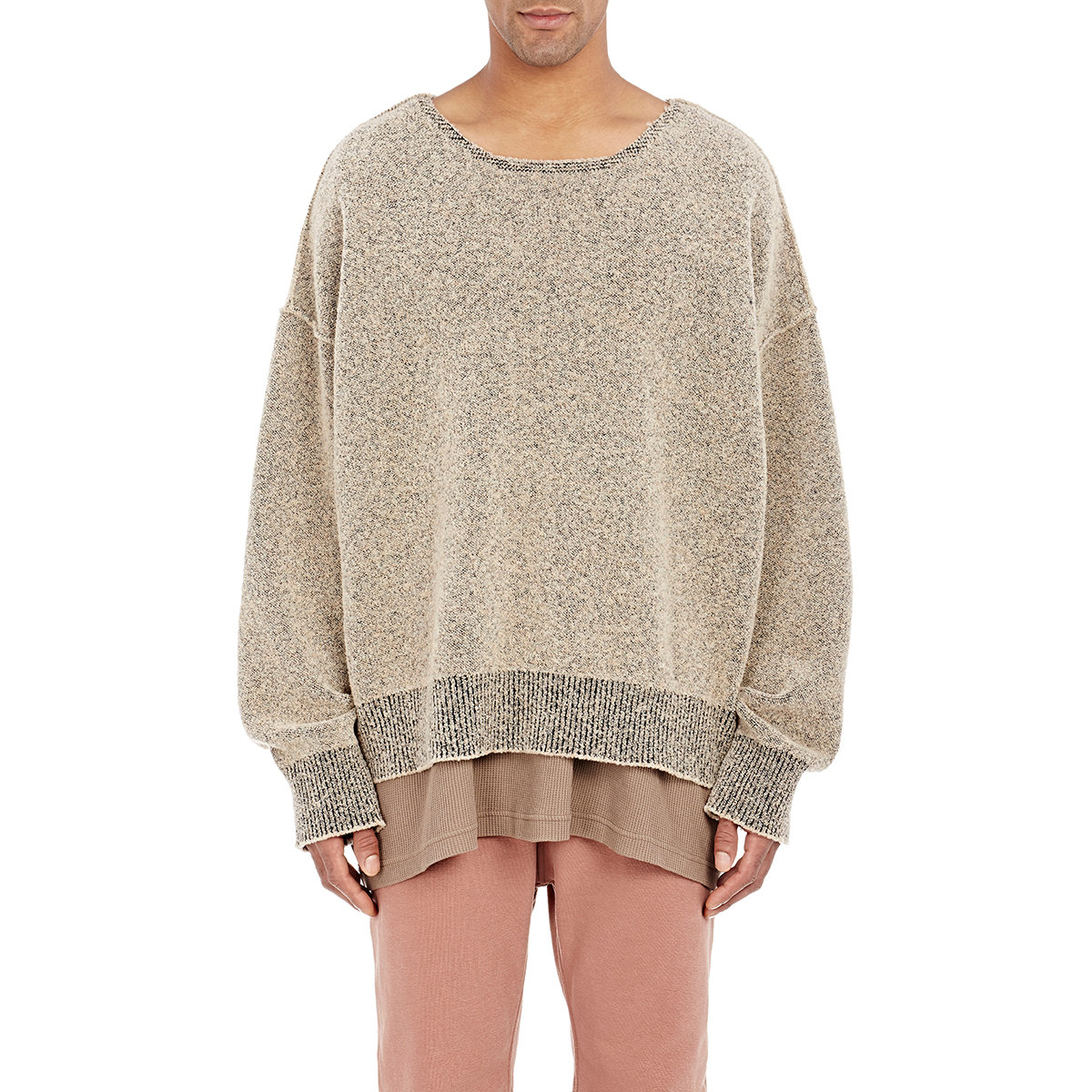 Yeezy Brown Men's Boucle Boxy Sweater for men