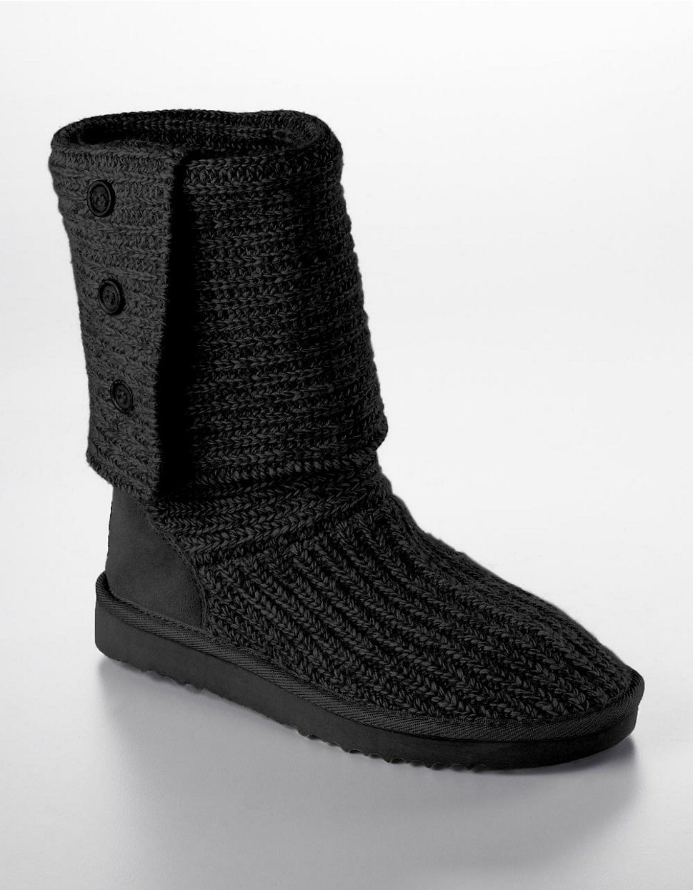 Ugg Australia Ladies Cardy Knit Flat Boots In Black Lyst