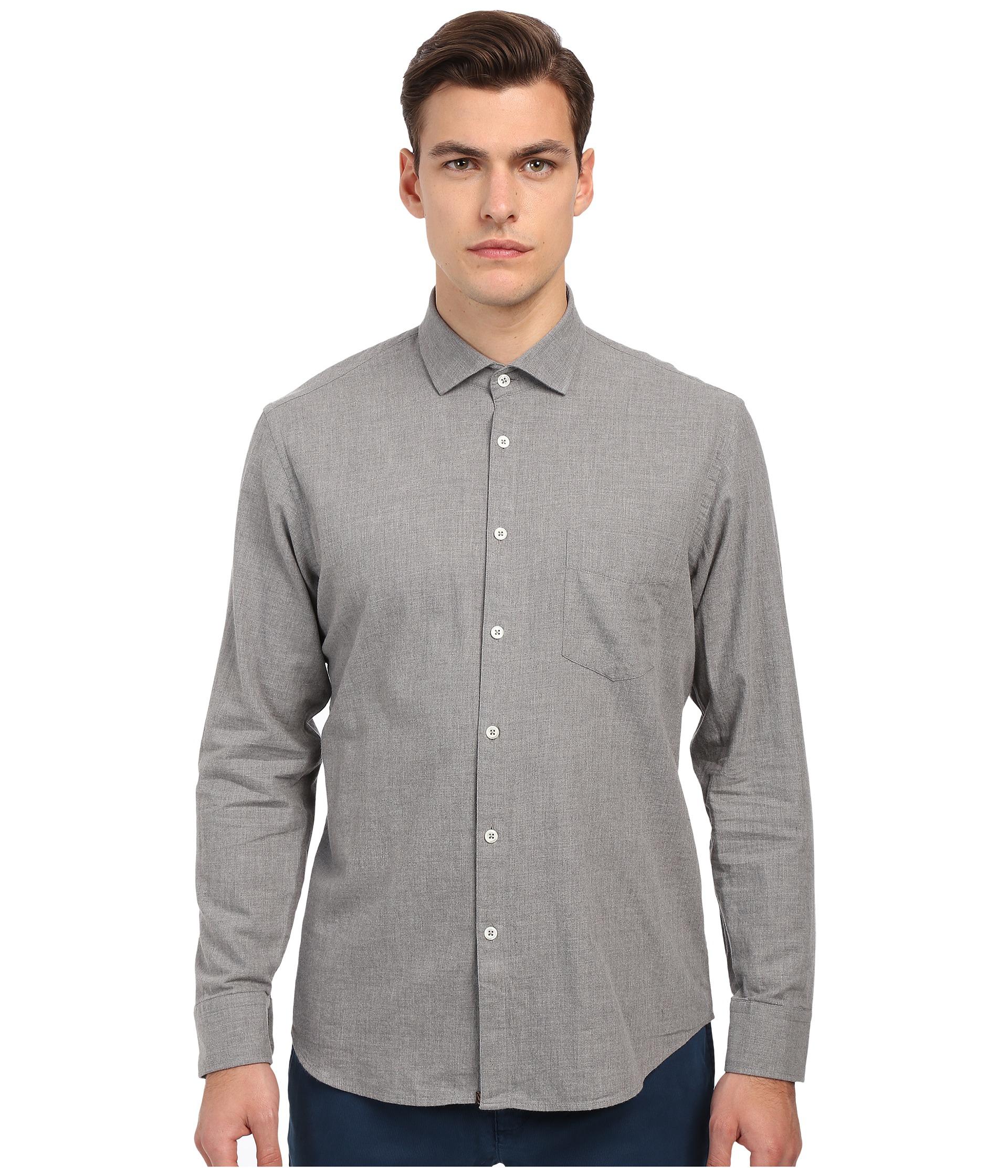 Billy reid John T-shirt Button Up in Gray for Men | Lyst